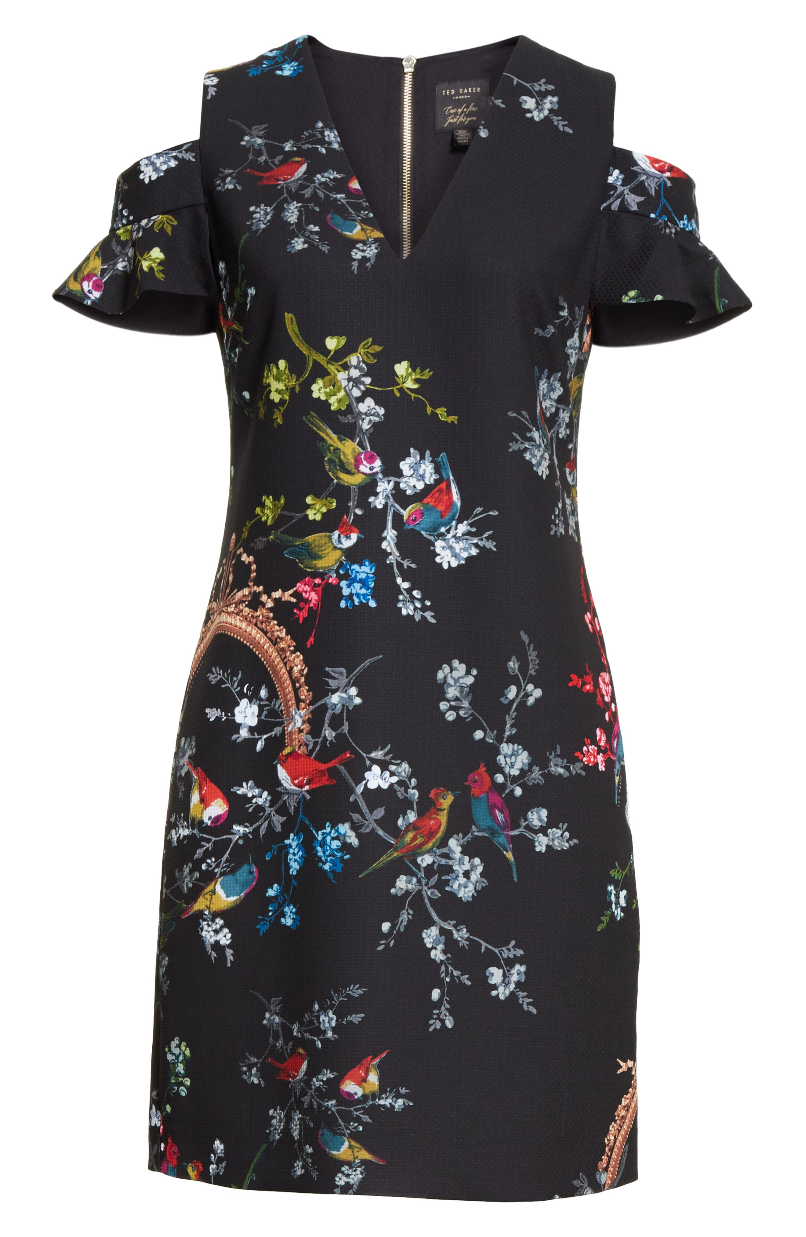 Opulent Fauna Print Cold Shoulder Dress,                             Alternate thumbnail 6, color,                             Black