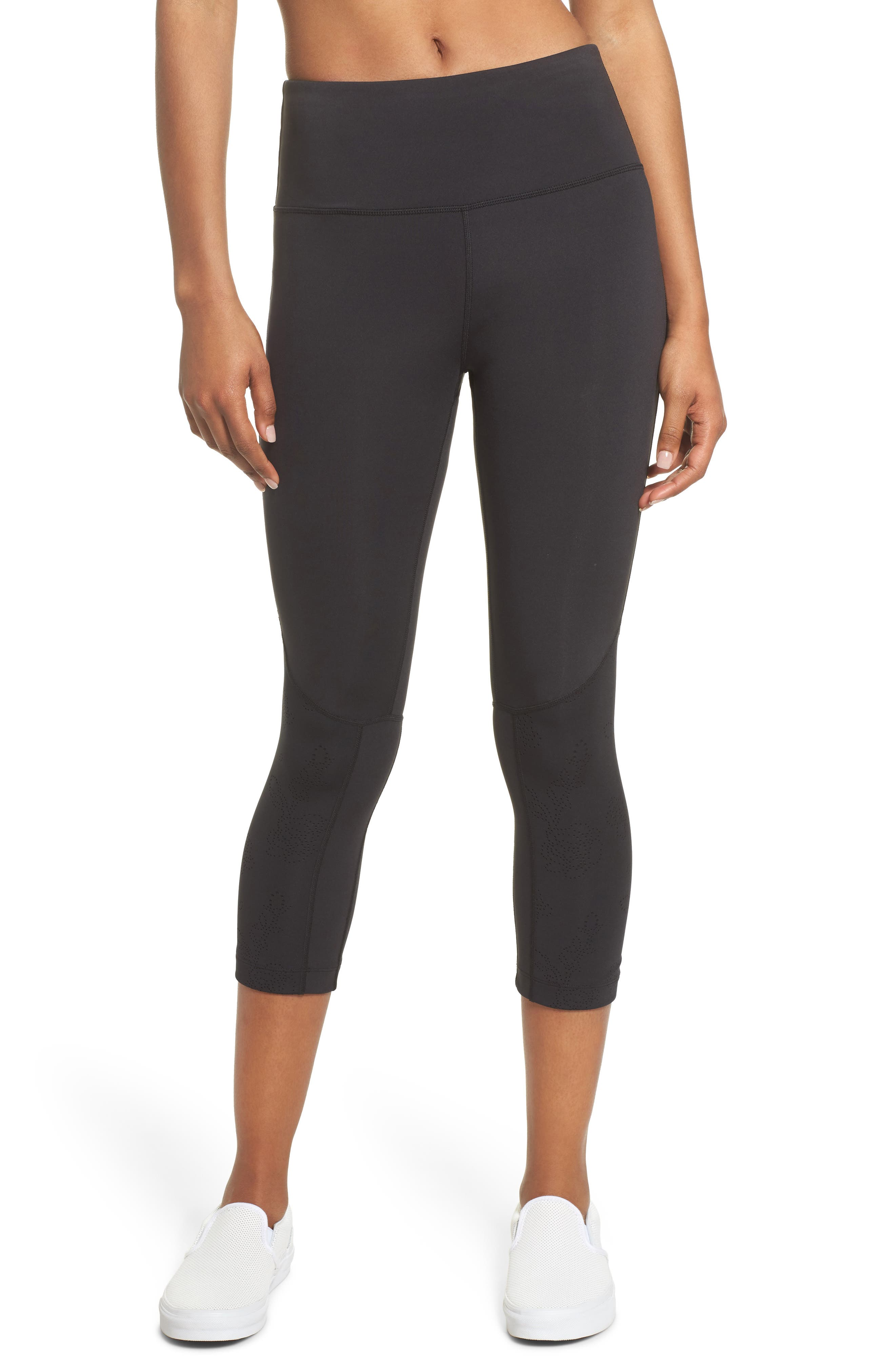 floral laser cut leggings,                         Main,                         color, Black