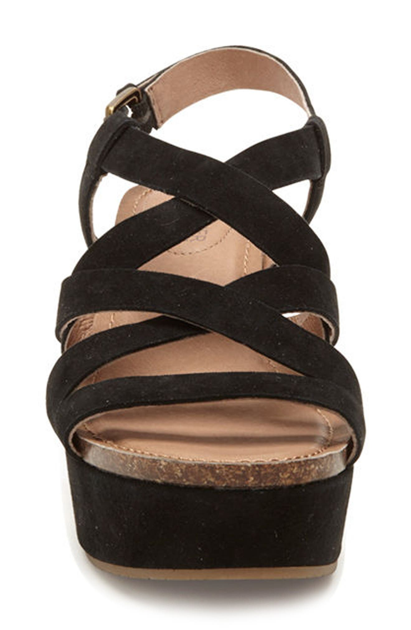 Adam Tucker Bria Strappy Sandal,                             Alternate thumbnail 4, color,                             Black Suede