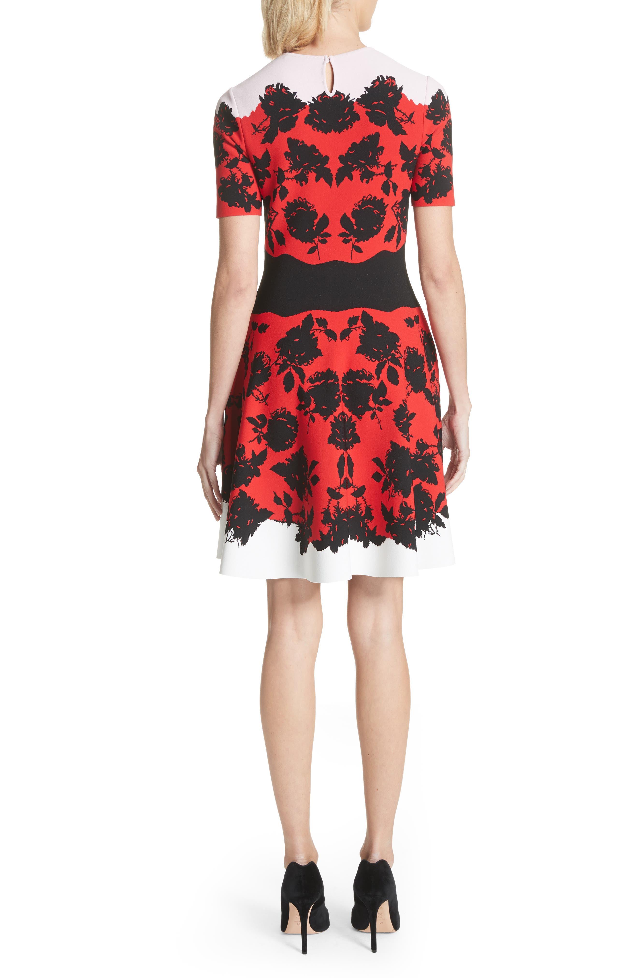 Rose Jacquard Knit Flounce Dress,                             Alternate thumbnail 2, color,                             Red/ Black/ Ivory/ Pink