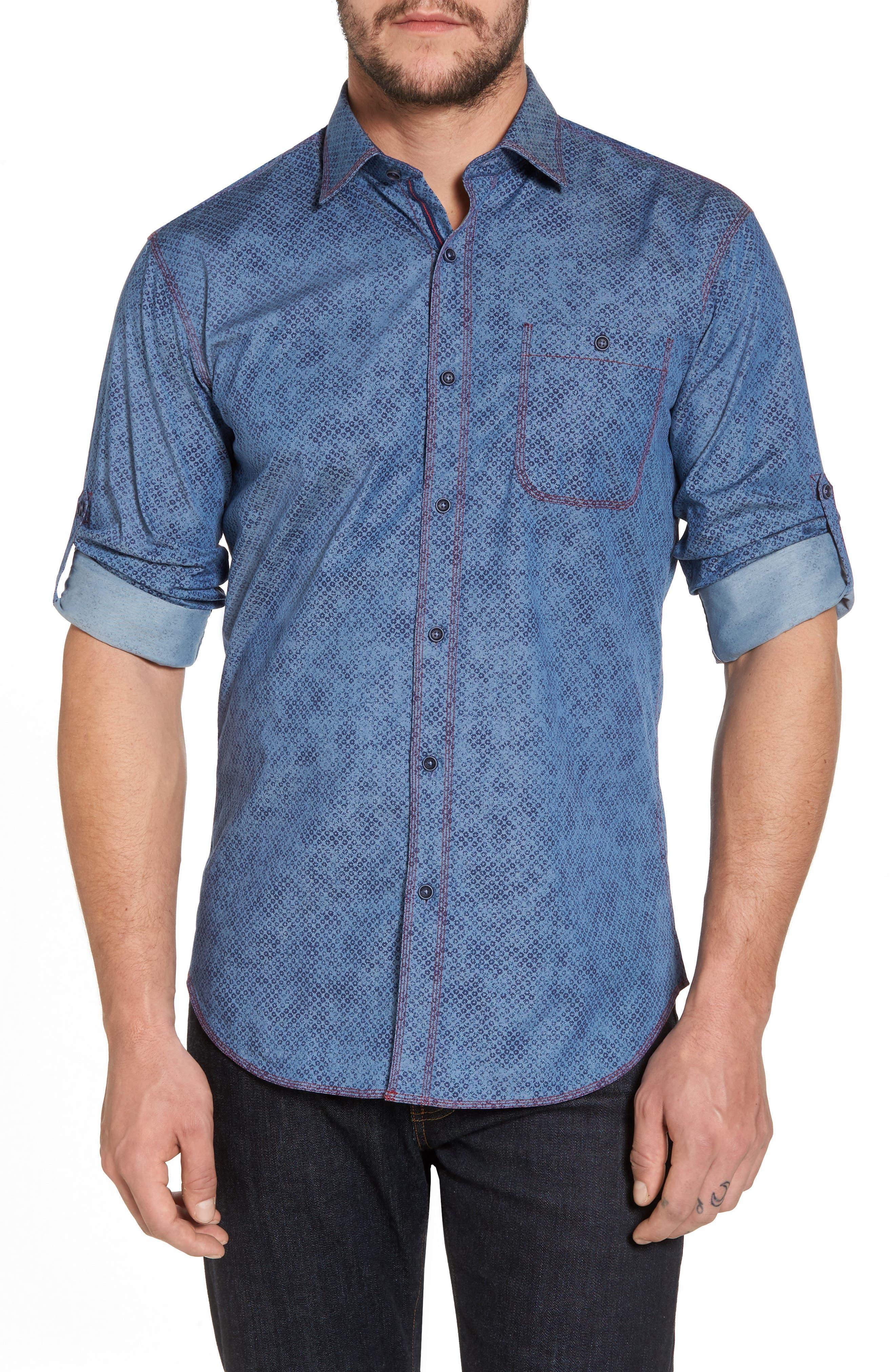 Bugatchi Slim Fit Button Tab Sport Shirt