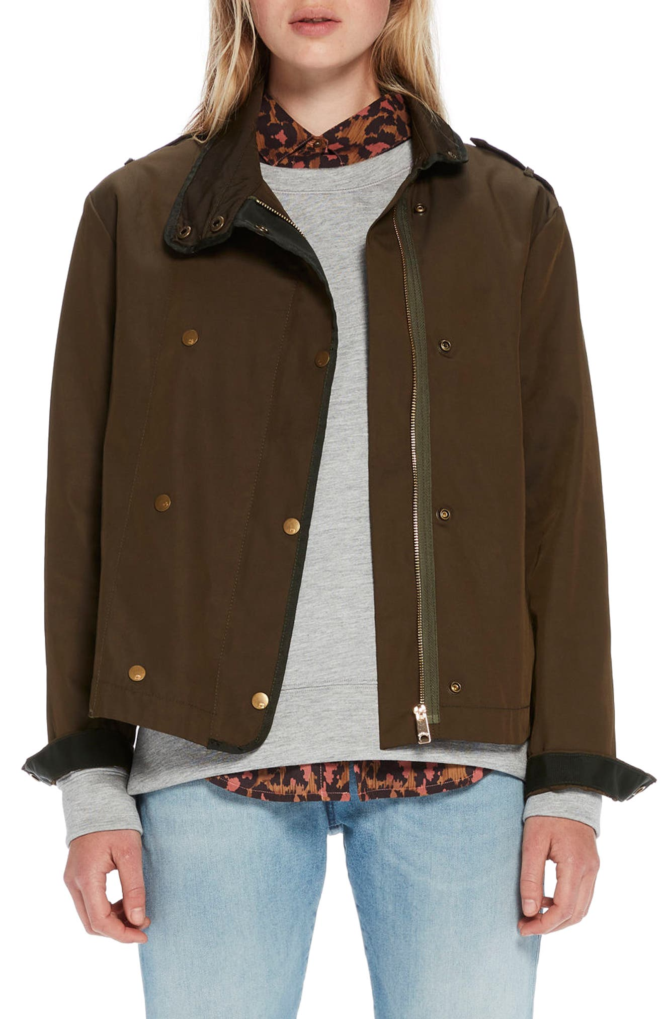 Boxy Double Breasted Jacket,                         Main,                         color, Forest
