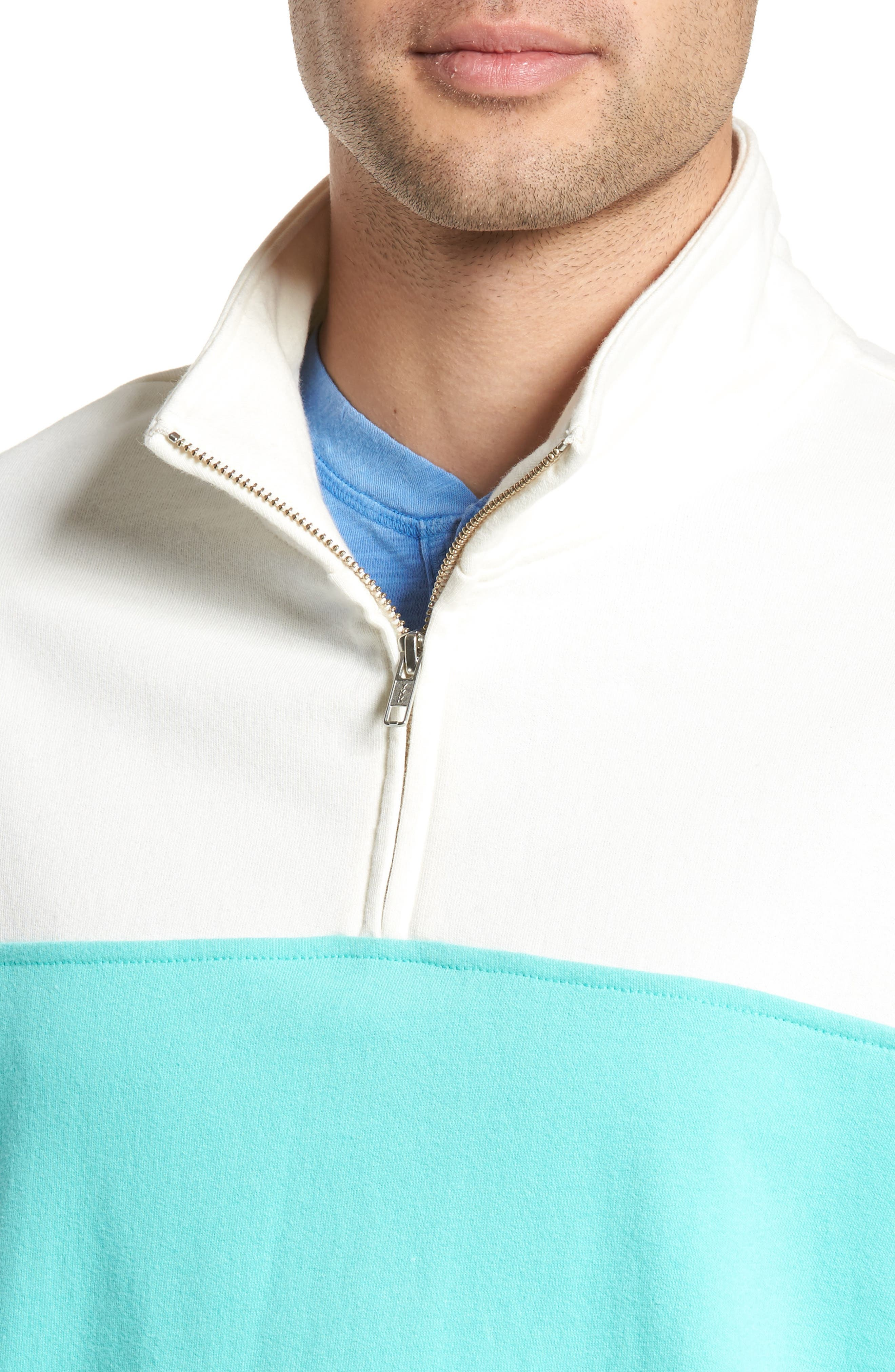 Colorblock Quarter Zip Sweatshirt,                             Alternate thumbnail 4, color,                             Ivory Egret/ Green Largo