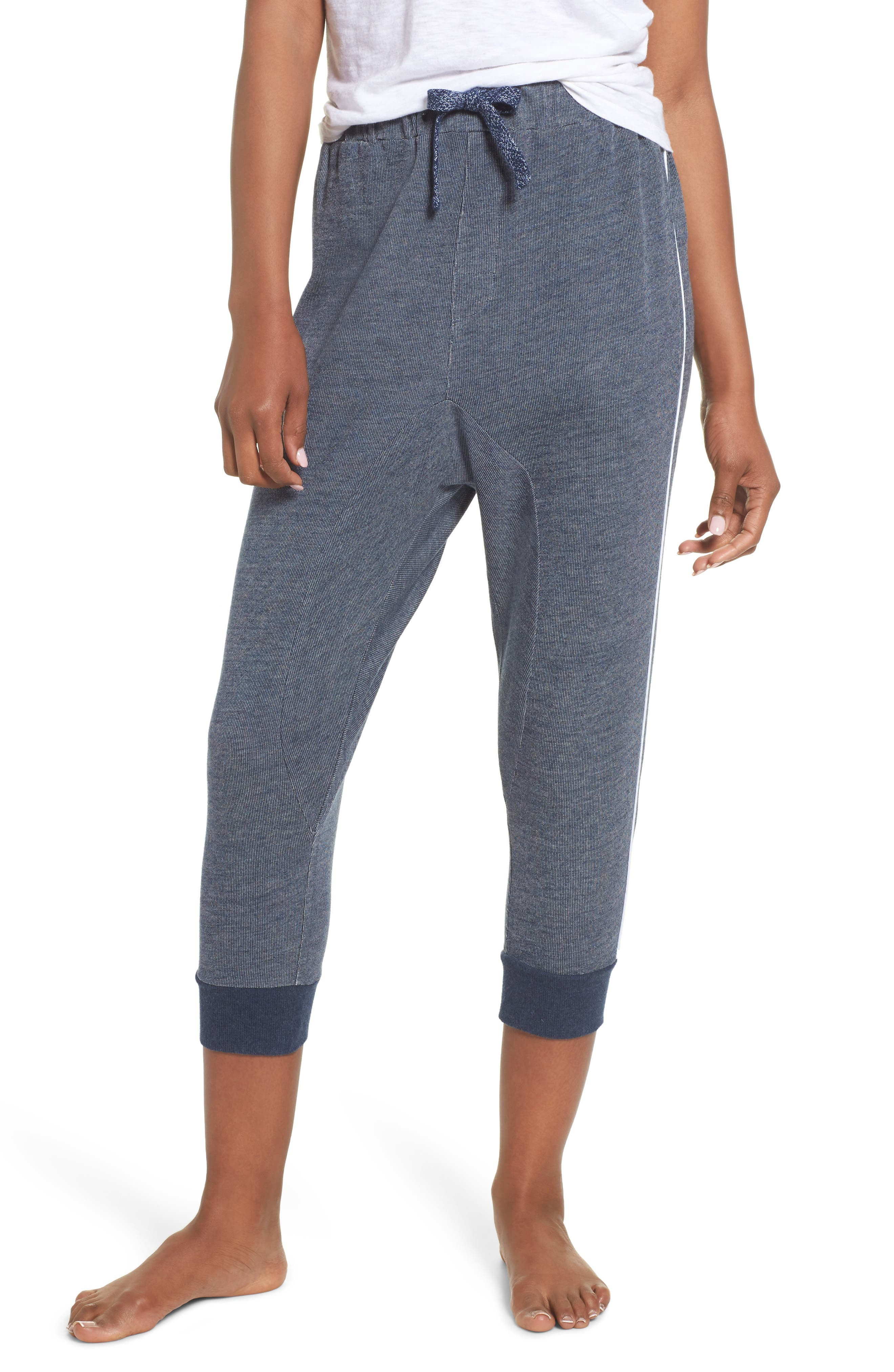 Steff Crop Lounge Pants,                         Main,                         color, Midnight Marle