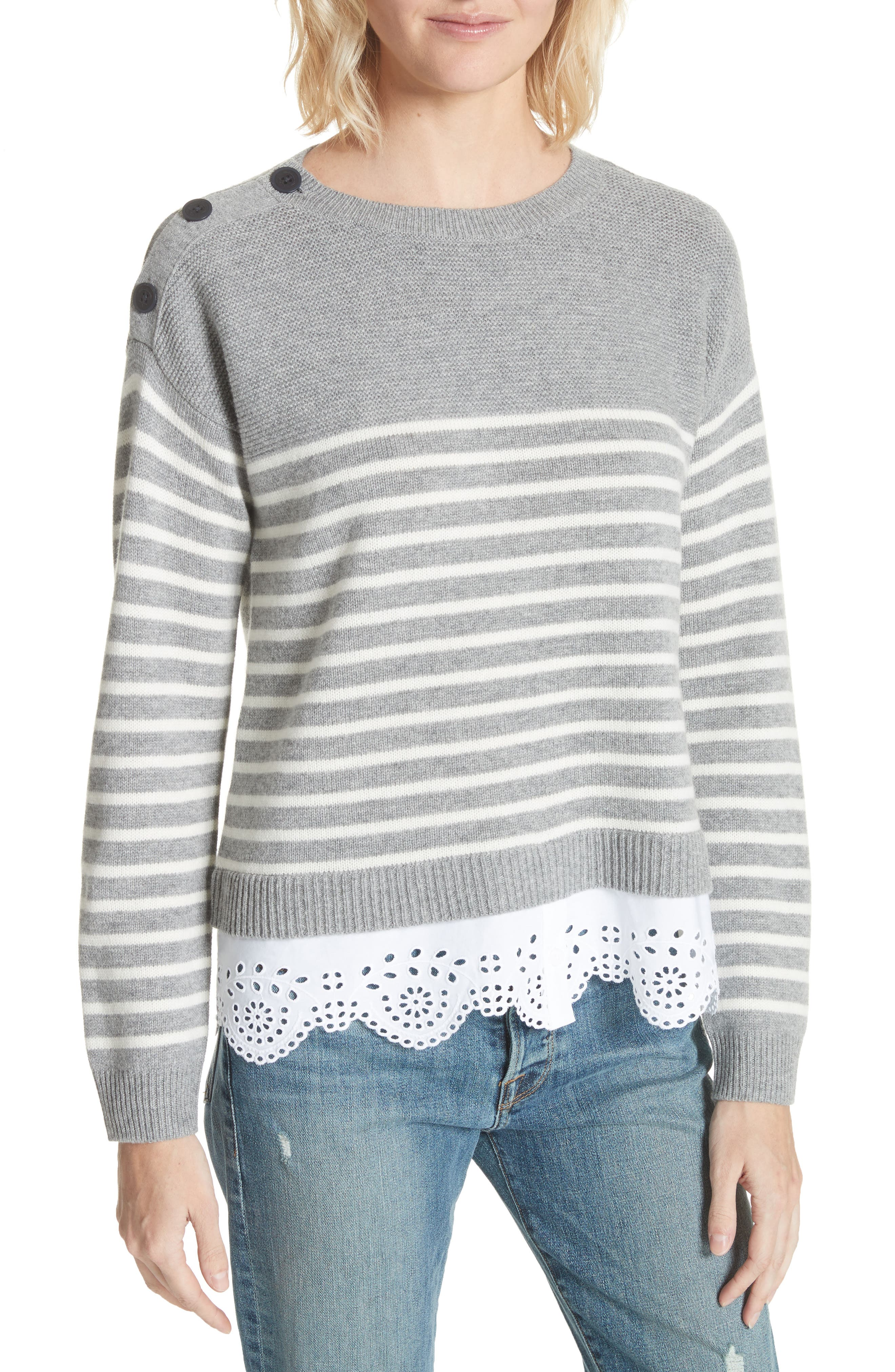 Joie Aefre Woven Trim Wool & Cashmere Sweater