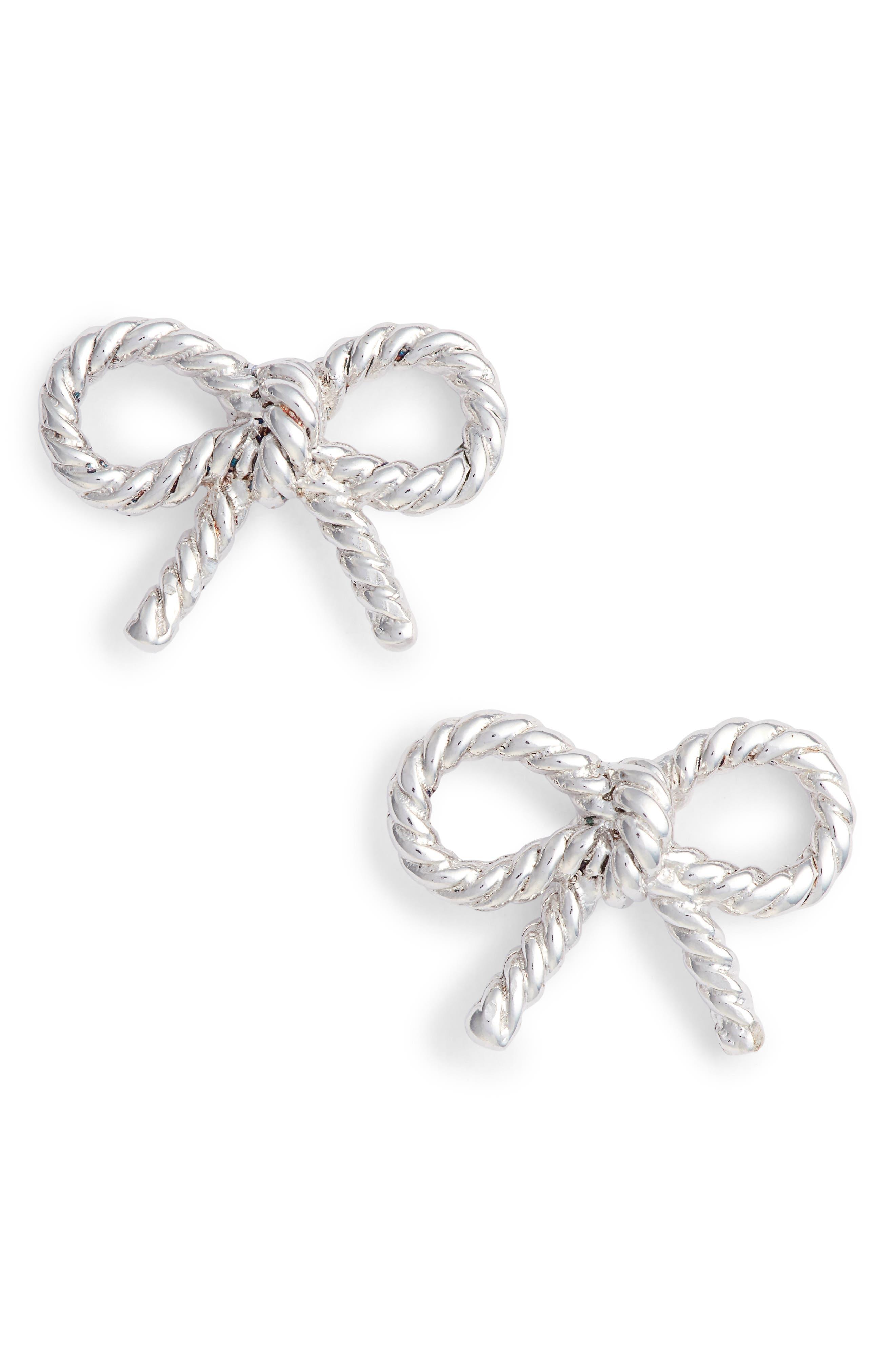 Vintage Bow Stud Earrings,                             Main thumbnail 1, color,                             Silver