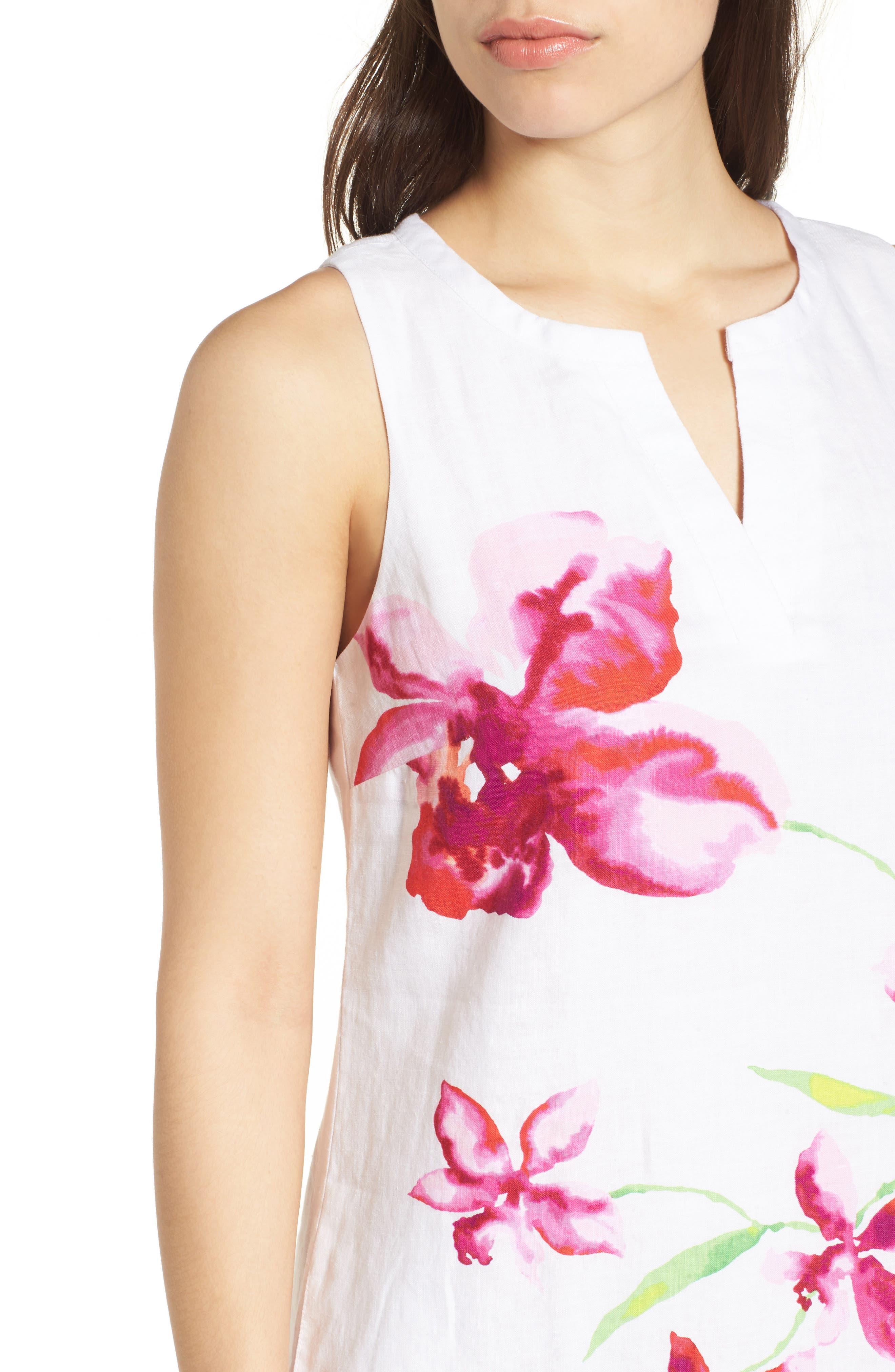 Floral Fade Shift Dress,                             Alternate thumbnail 4, color,                             White