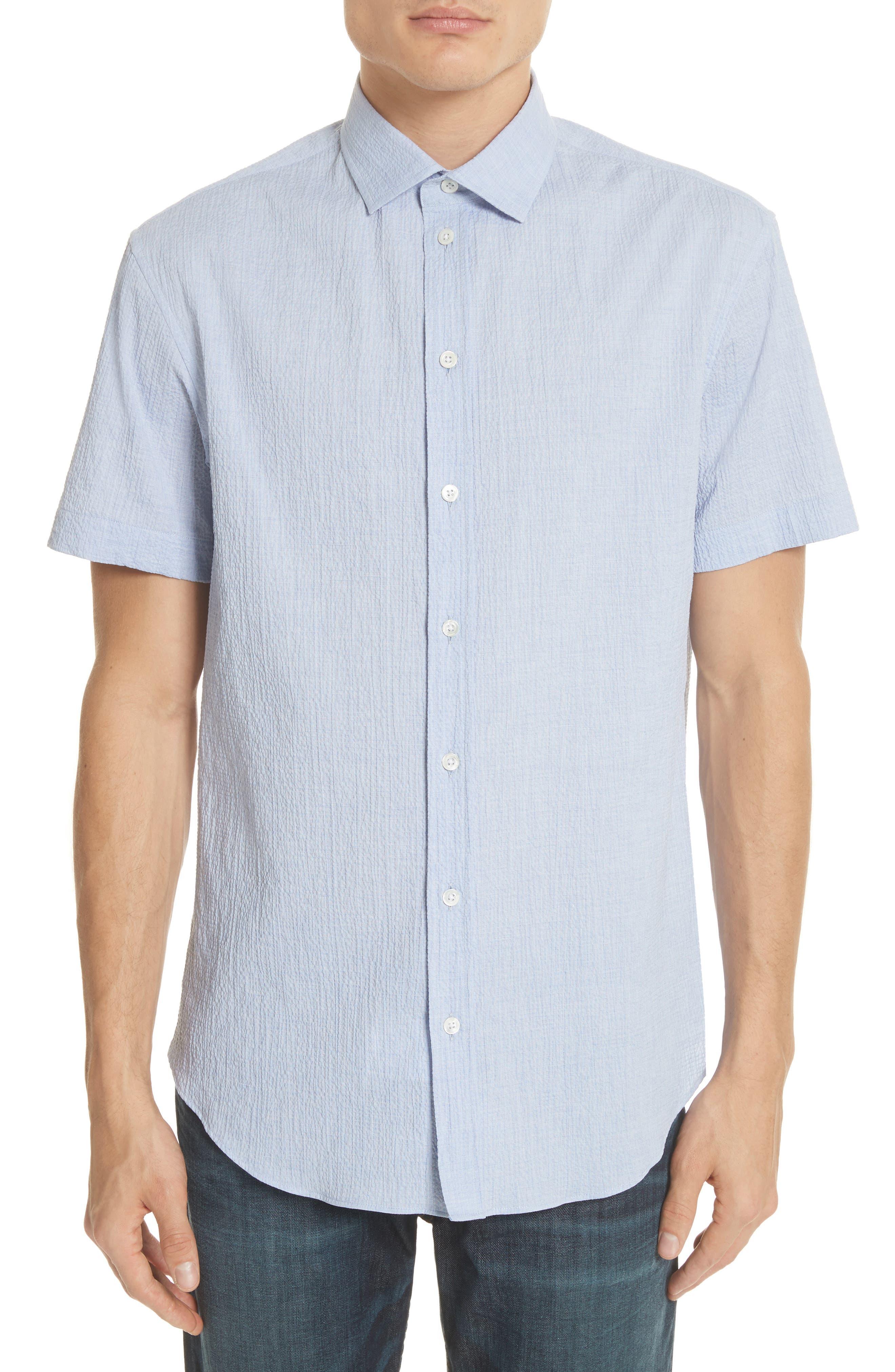 Regular Fit Seersucker Sport Shirt,                             Main thumbnail 1, color,                             Light Azure