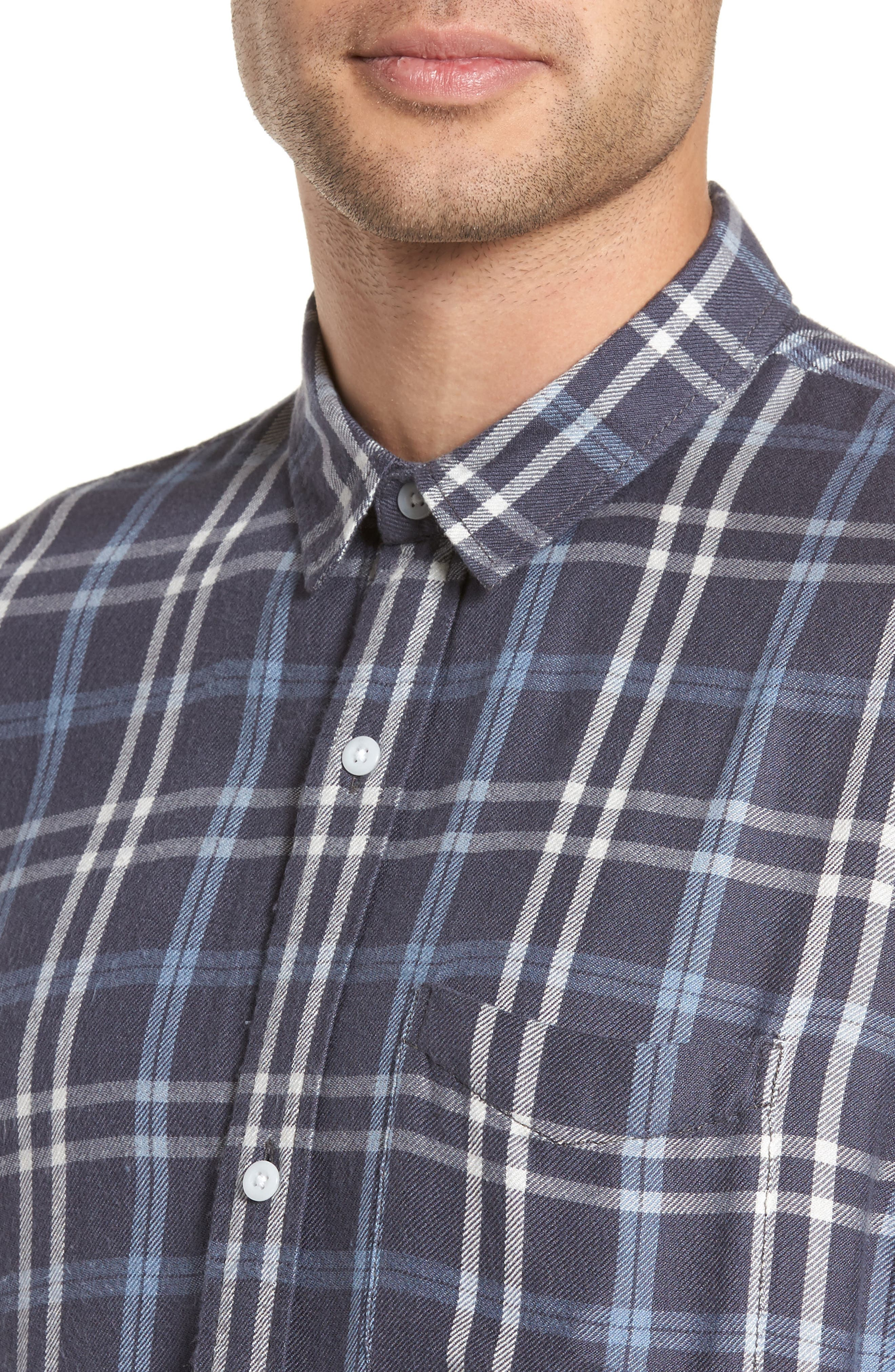 Yarn Dyed Plaid Shirt,                             Alternate thumbnail 4, color,                             Blue Grisaille Plaid