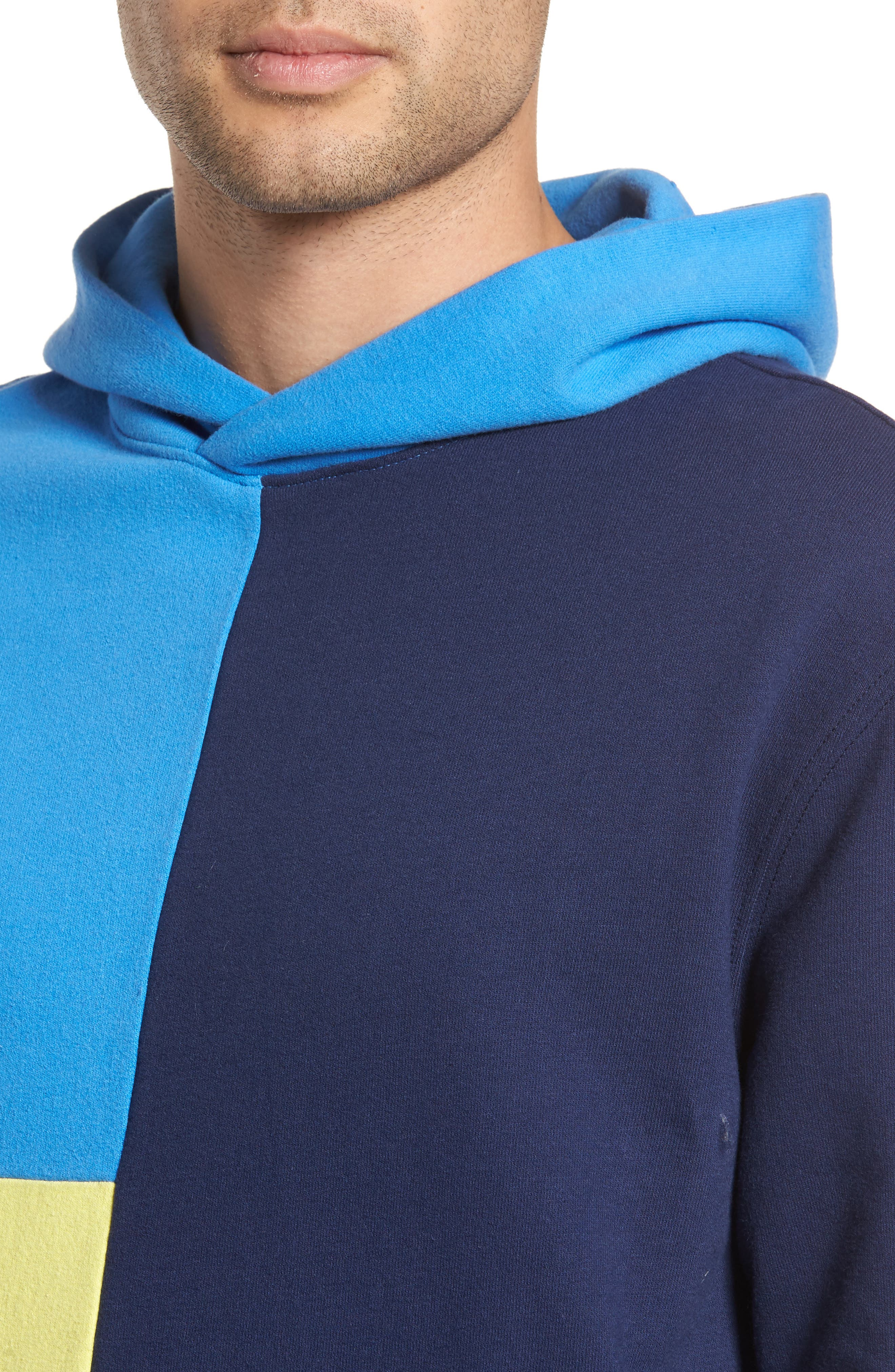 Colorblock Hoodie Sweatshirt,                             Alternate thumbnail 4, color,                             Navy Blue Yellow Block