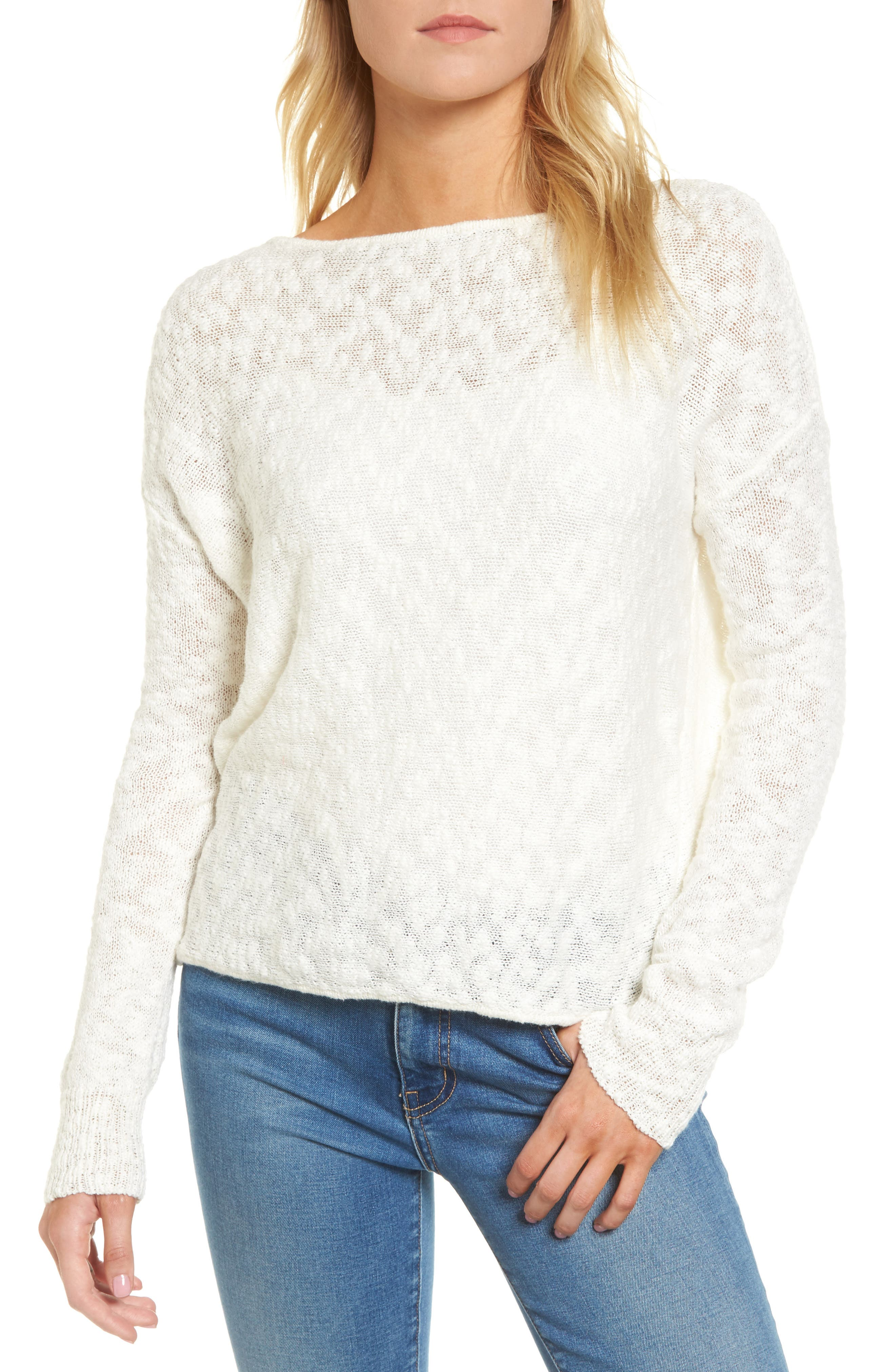 Textured Twist Back Sweater,                         Main,                         color, Ivory