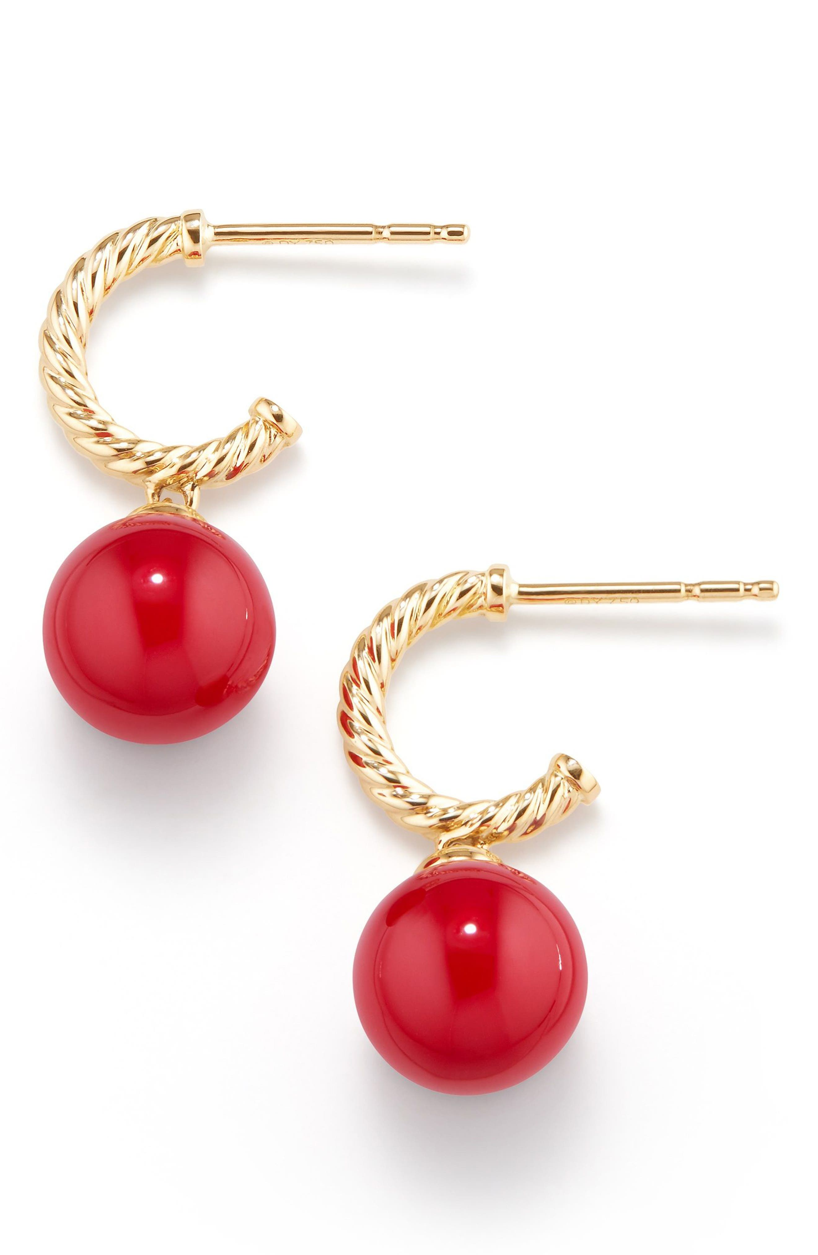 Solari Hoop Earrings with 18K Gold and Red Enamel,                             Main thumbnail 1, color,                             Yellow Gold/ Red