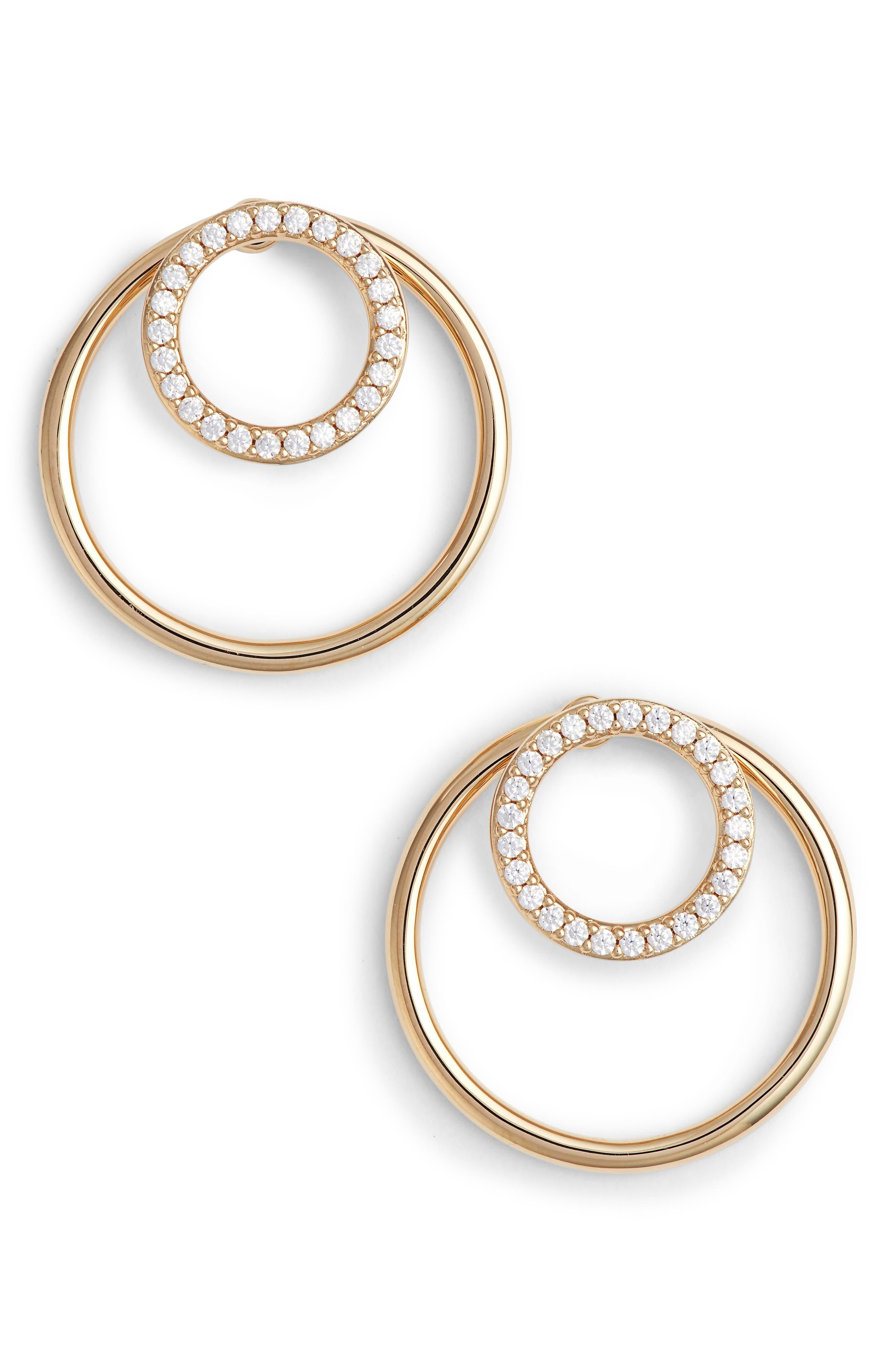 Pavé Double Circle Earrings,                             Main thumbnail 1, color,                             Gold/ Clear
