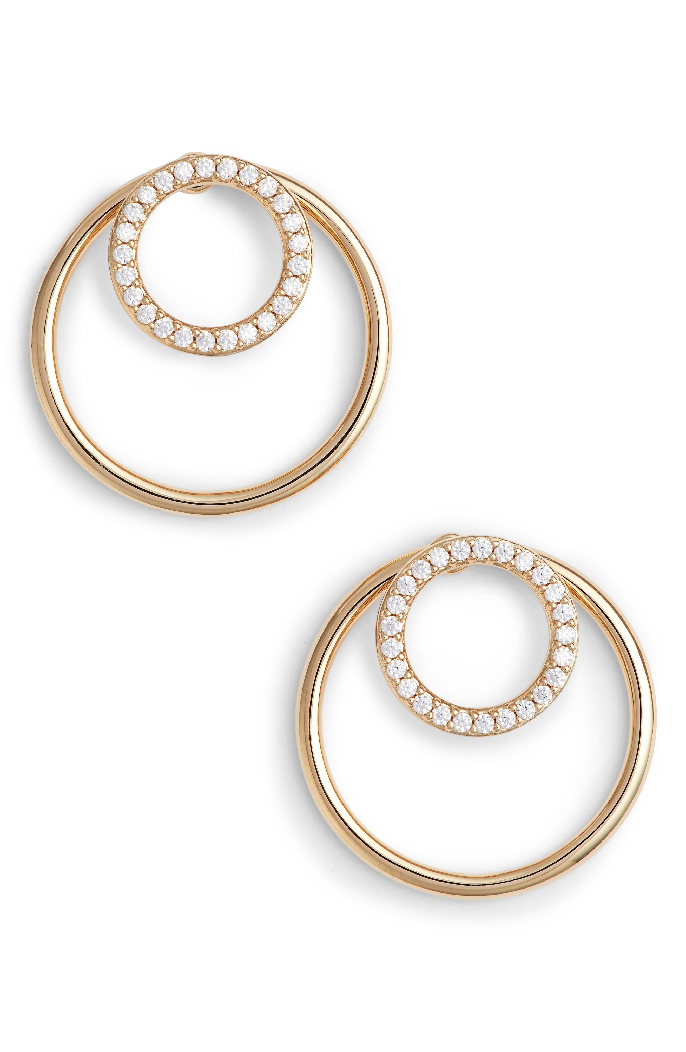 Pavé Double Circle Earrings,                         Main,                         color, Gold/ Clear