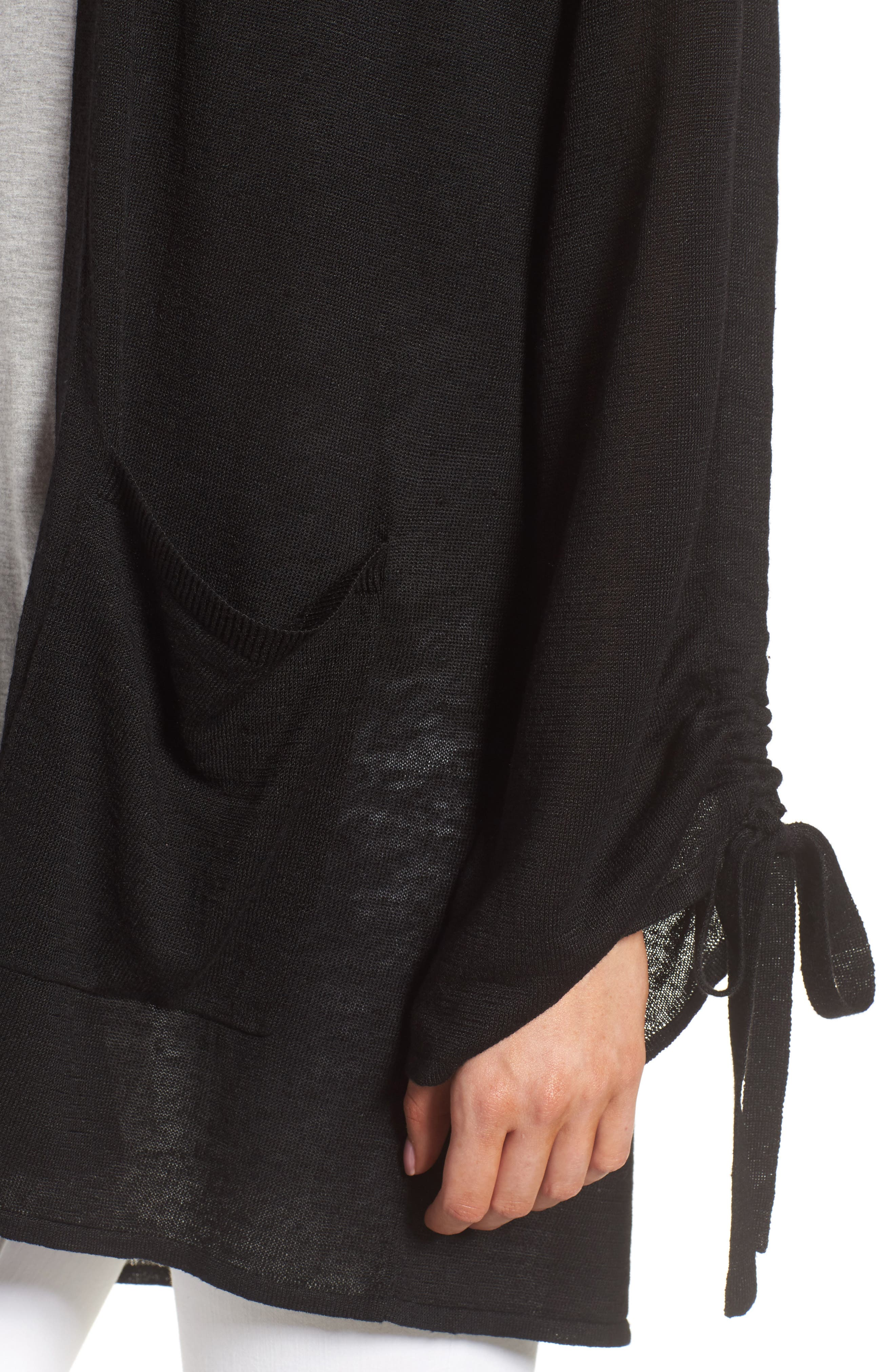 Ruched Sleeve Cardigan,                             Alternate thumbnail 4, color,                             Black