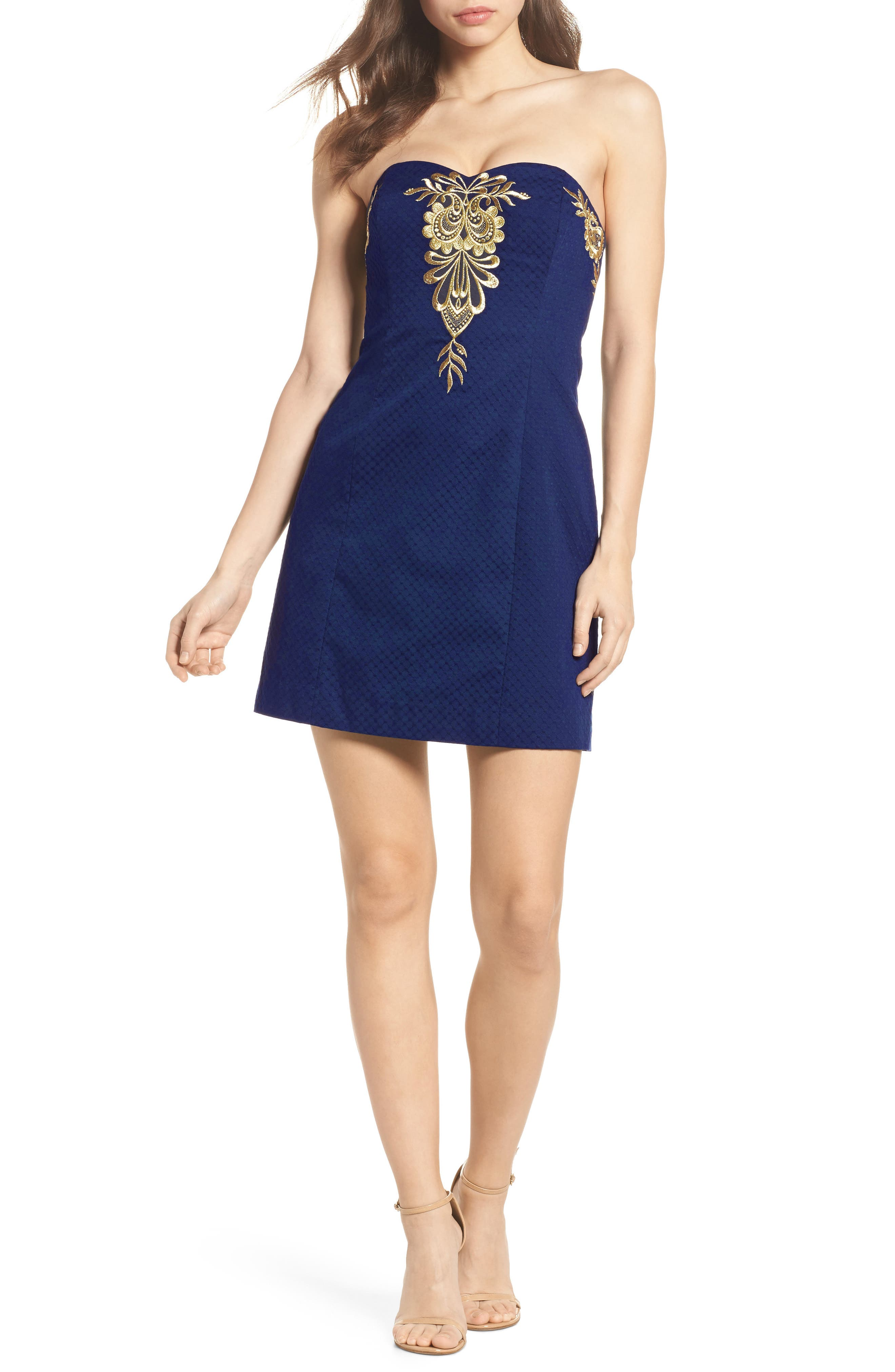 Demi Strapless Dress,                         Main,                         color, True Navy