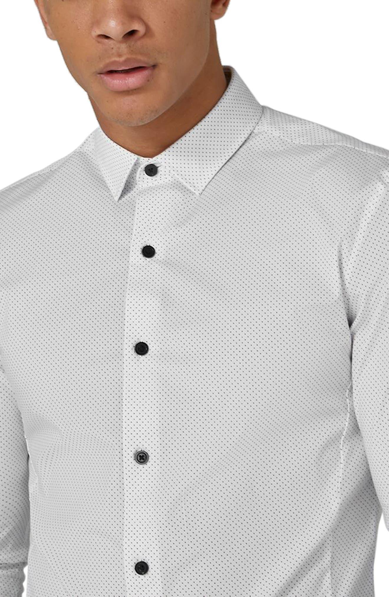 Muscle Fit Polka Dot Sport Shirt,                             Alternate thumbnail 3, color,                             White Multi