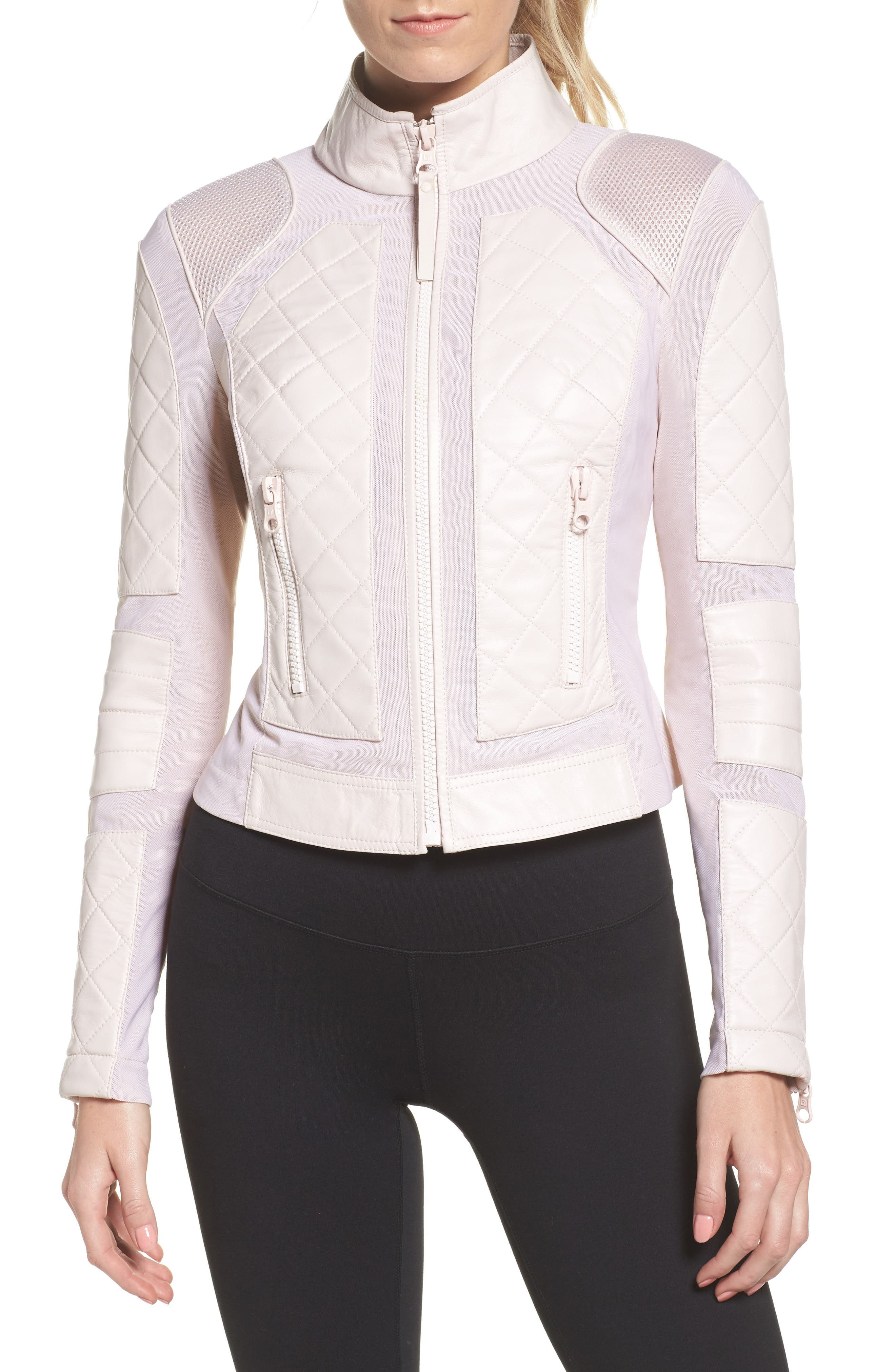 Leather & Mesh Moto Jacket,                             Alternate thumbnail 4, color,                             Pink