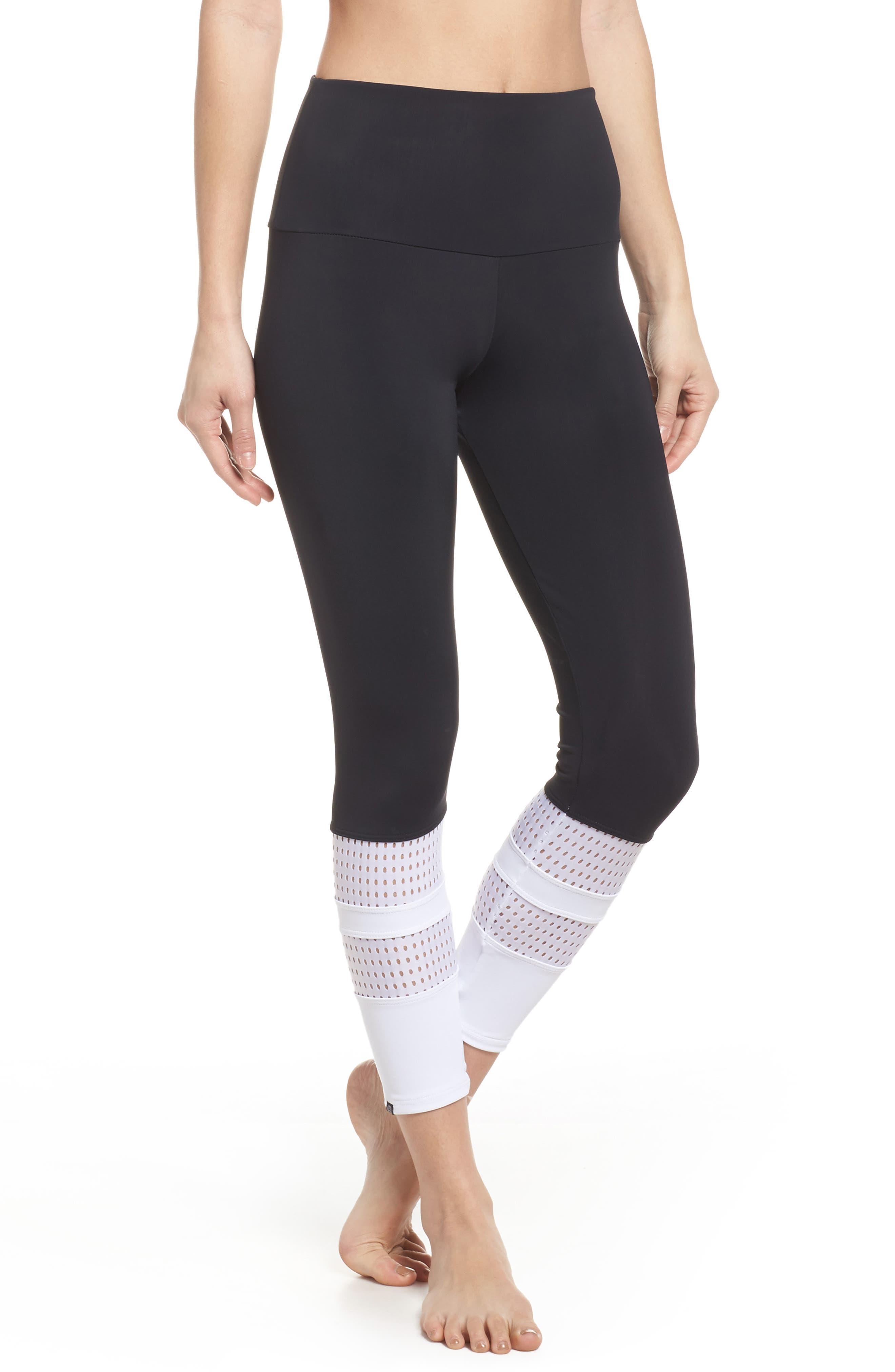 Racer Leggings,                         Main,                         color, Black/ White Combo