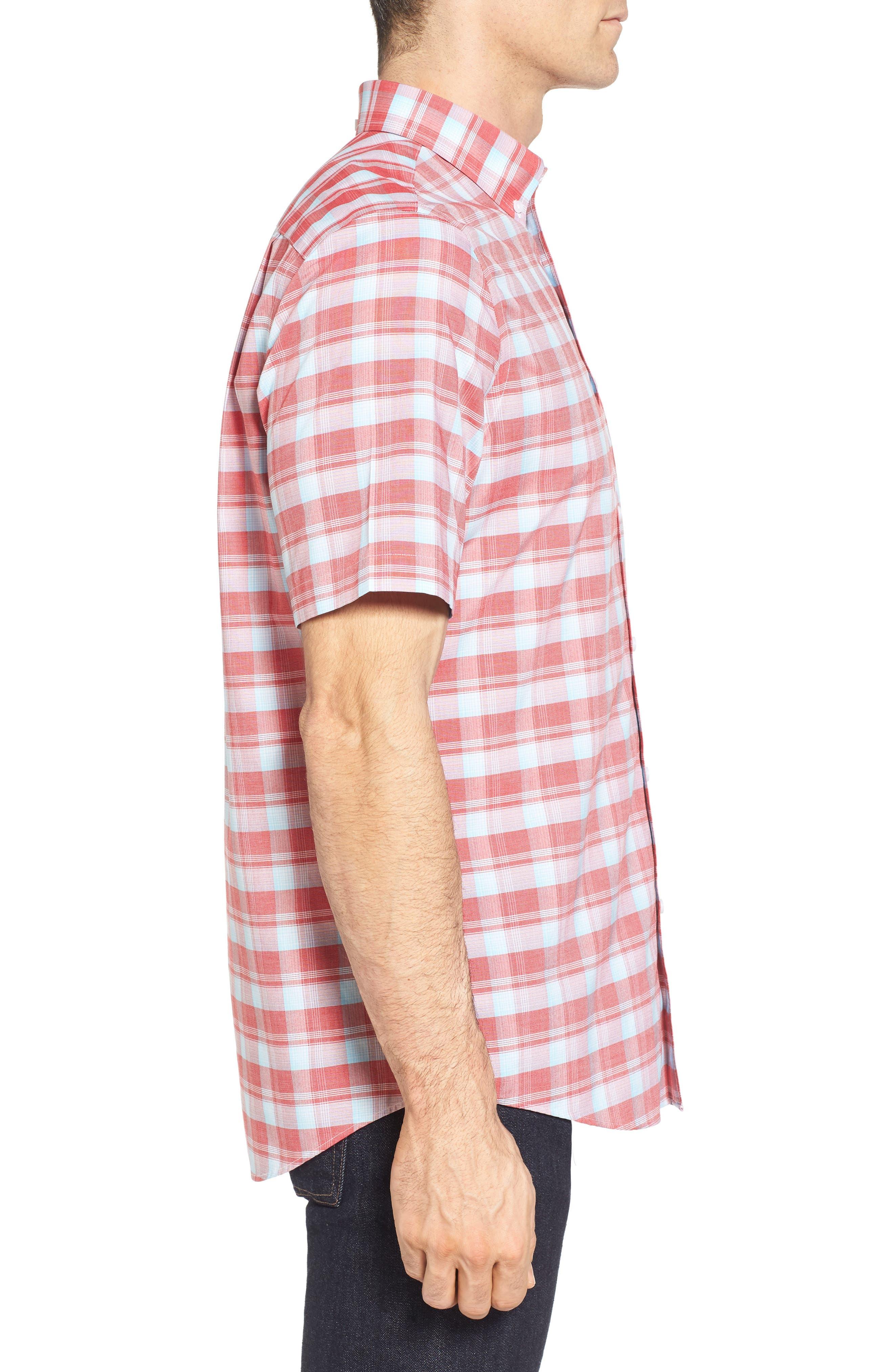 Regular Fit Plaid Sport Shirt,                             Alternate thumbnail 4, color,                             Red Pompeii Blue Check