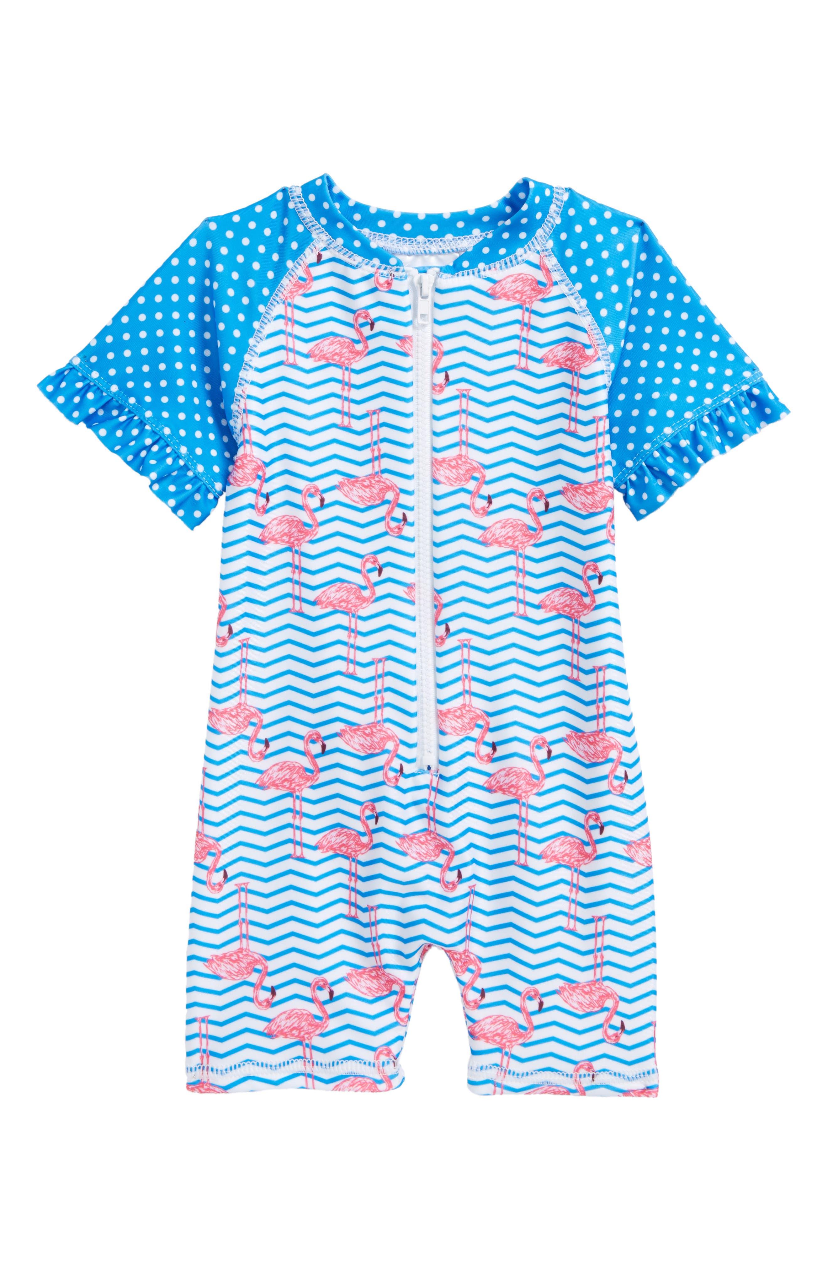 Zigzag Flamingos One-Piece Rashguard Swimsuit,                             Main thumbnail 1, color,                             Blue Multi