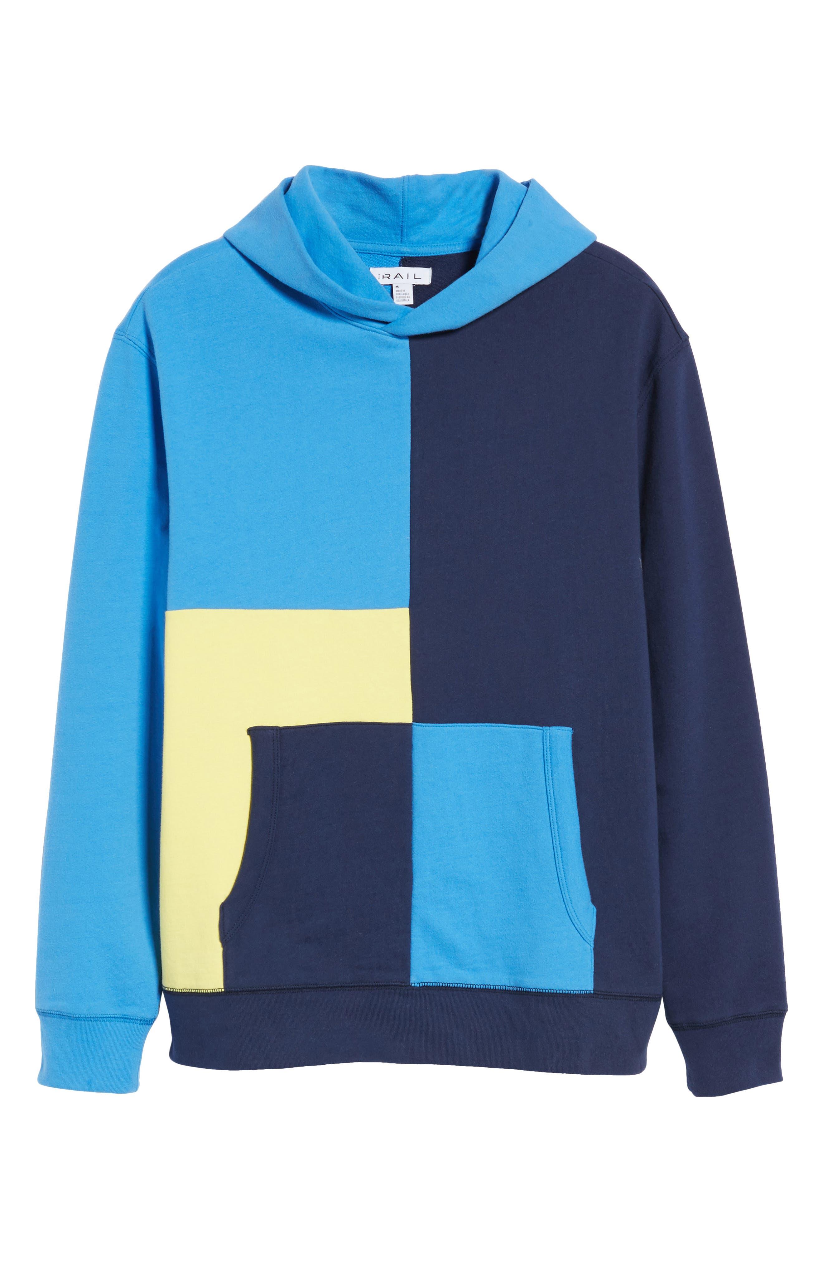 Colorblock Hoodie Sweatshirt,                             Alternate thumbnail 6, color,                             Navy Blue Yellow Block