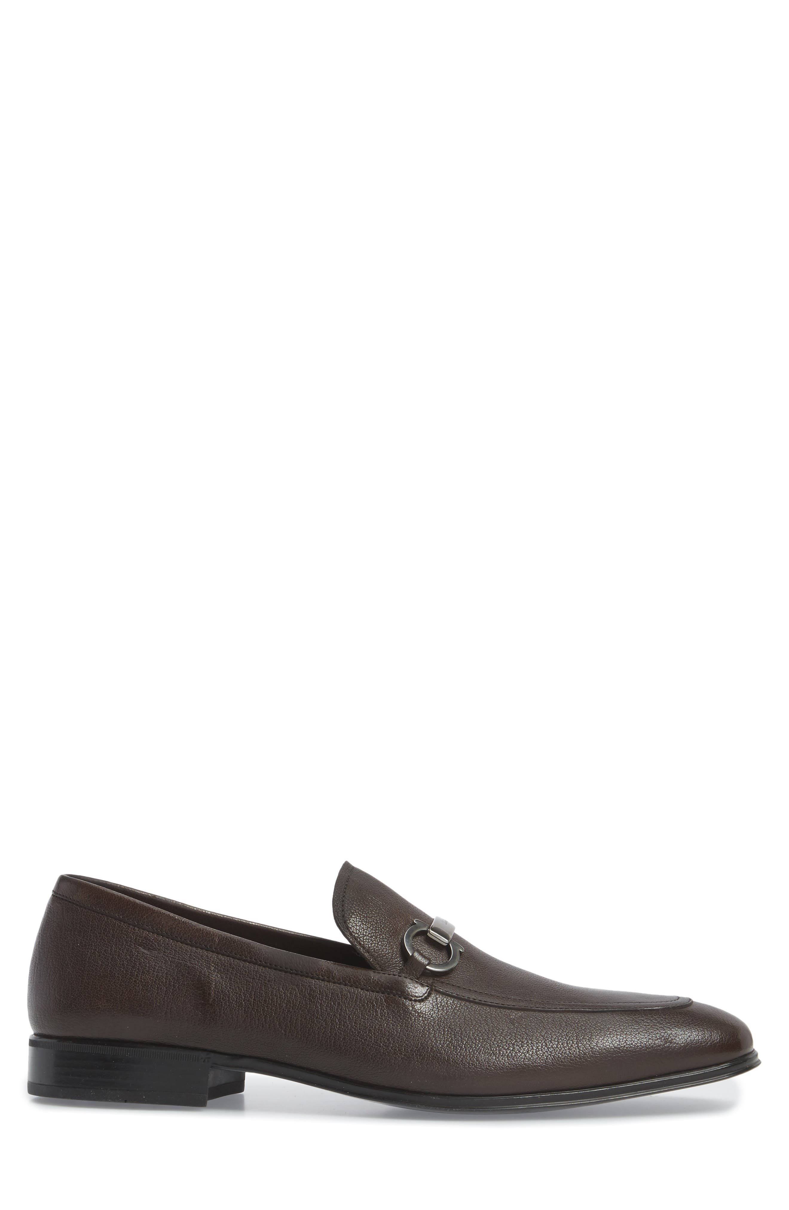 Borges Apron Toe Loafer,                             Alternate thumbnail 3, color,                             Brown Leather