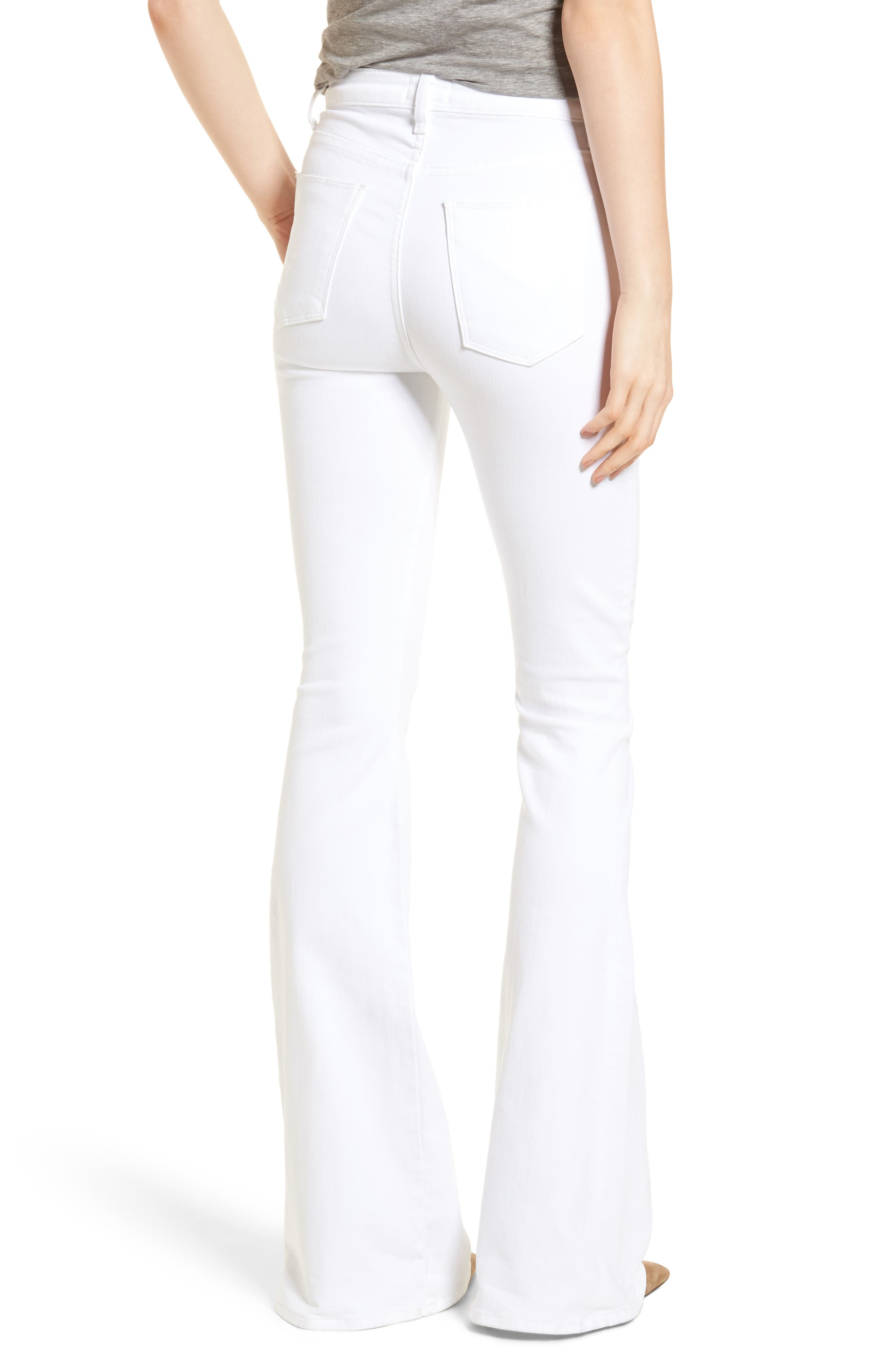 Holly High Waist Flare Jeans,                             Alternate thumbnail 2, color,                             Optical White