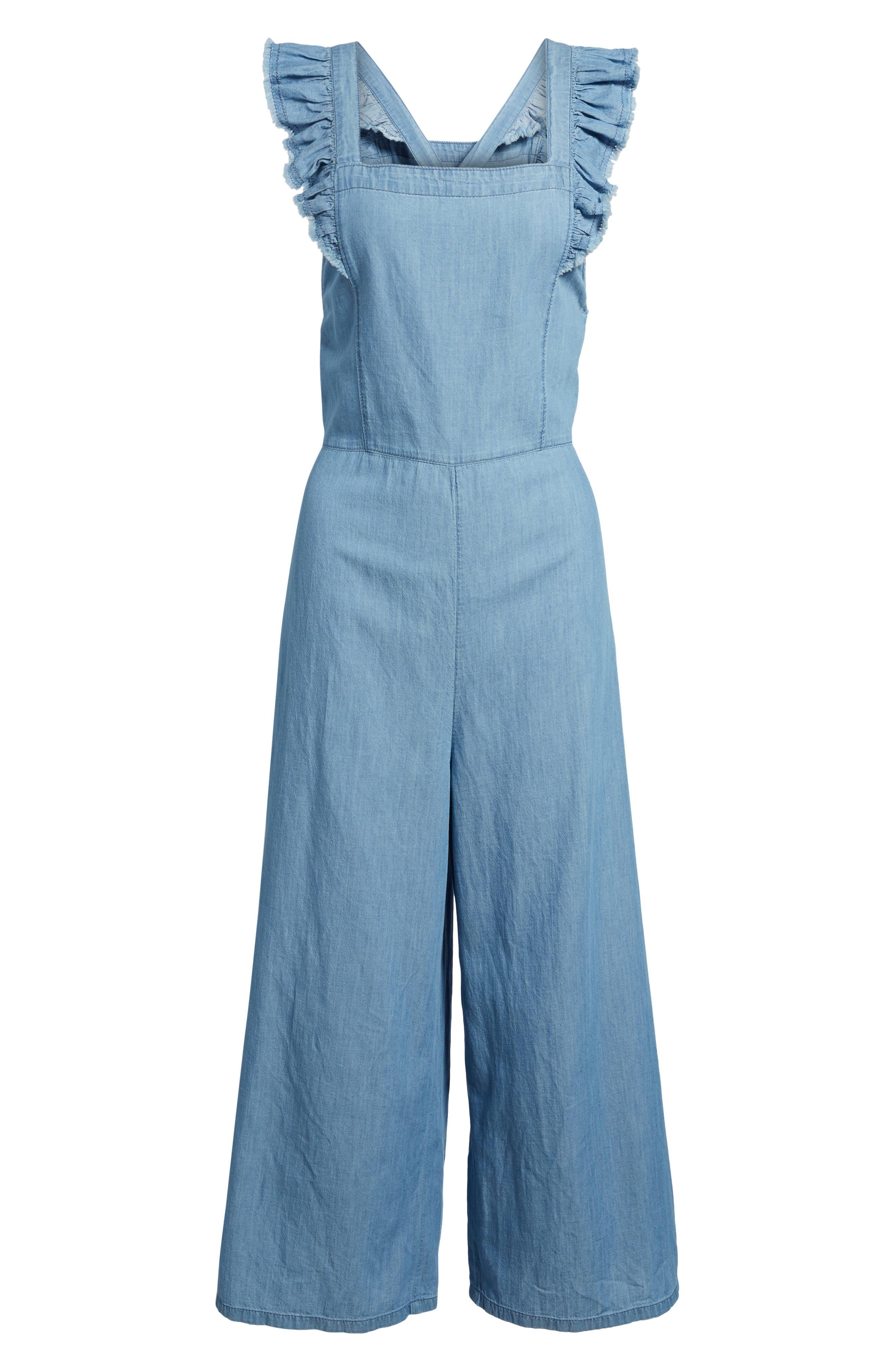 Chambray Apron Crop Jumpsuit,                             Alternate thumbnail 6, color,                             Medium Light Wash