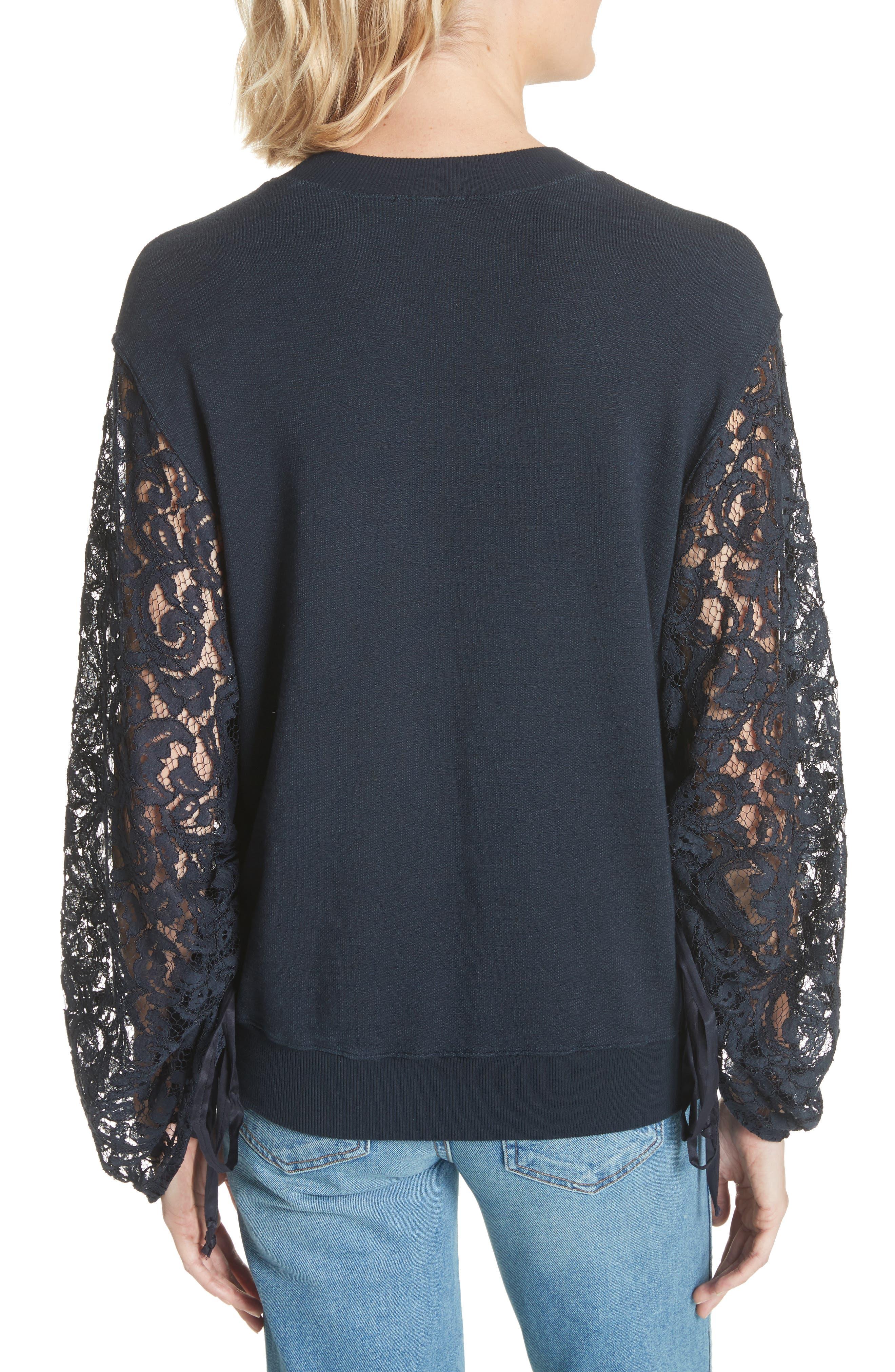 Lace Sleeve Sweatshirt,                             Alternate thumbnail 2, color,                             Navy