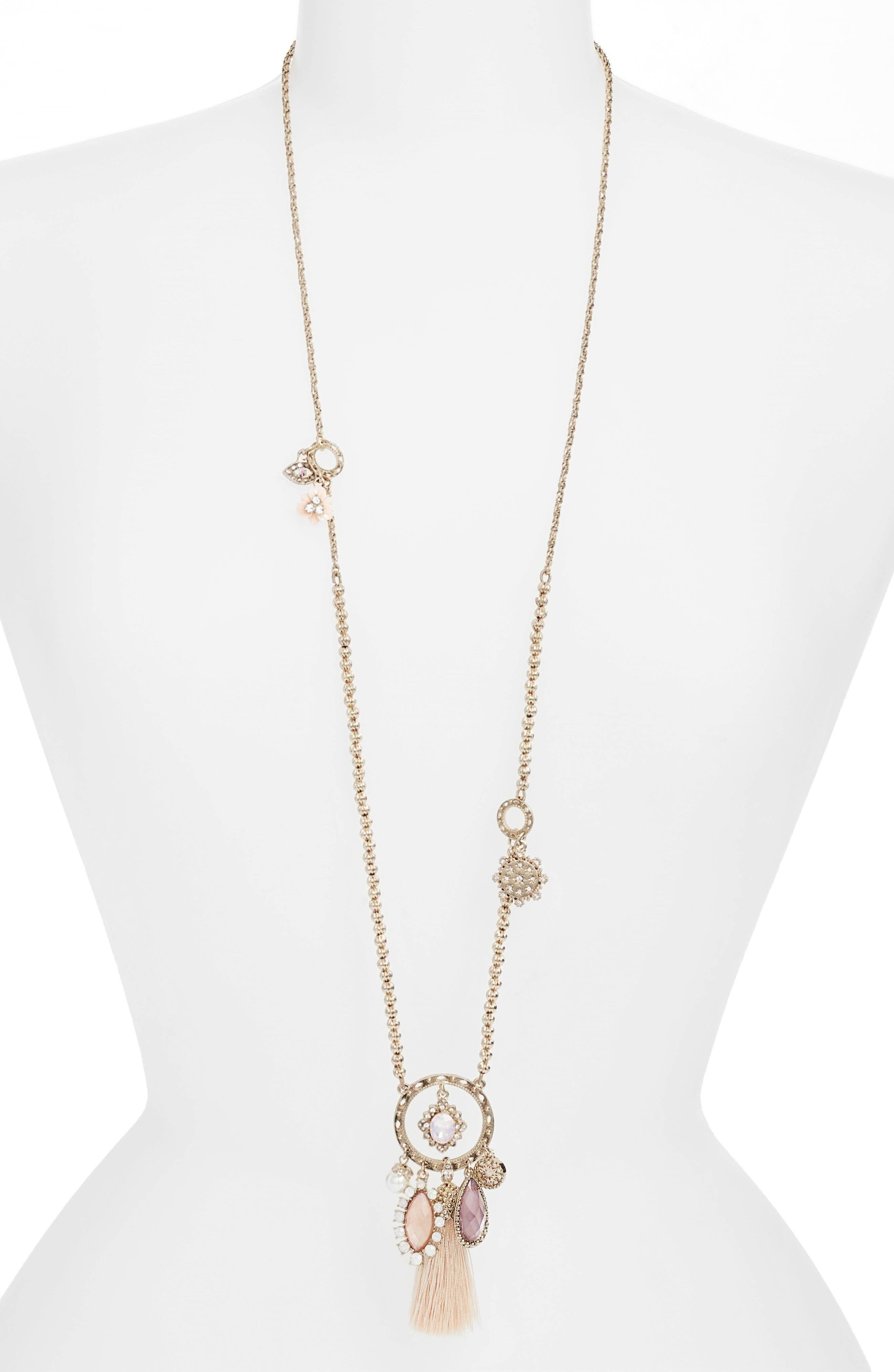Tassel Pendant Necklace,                             Main thumbnail 1, color,                             Gold/ Blush Multi