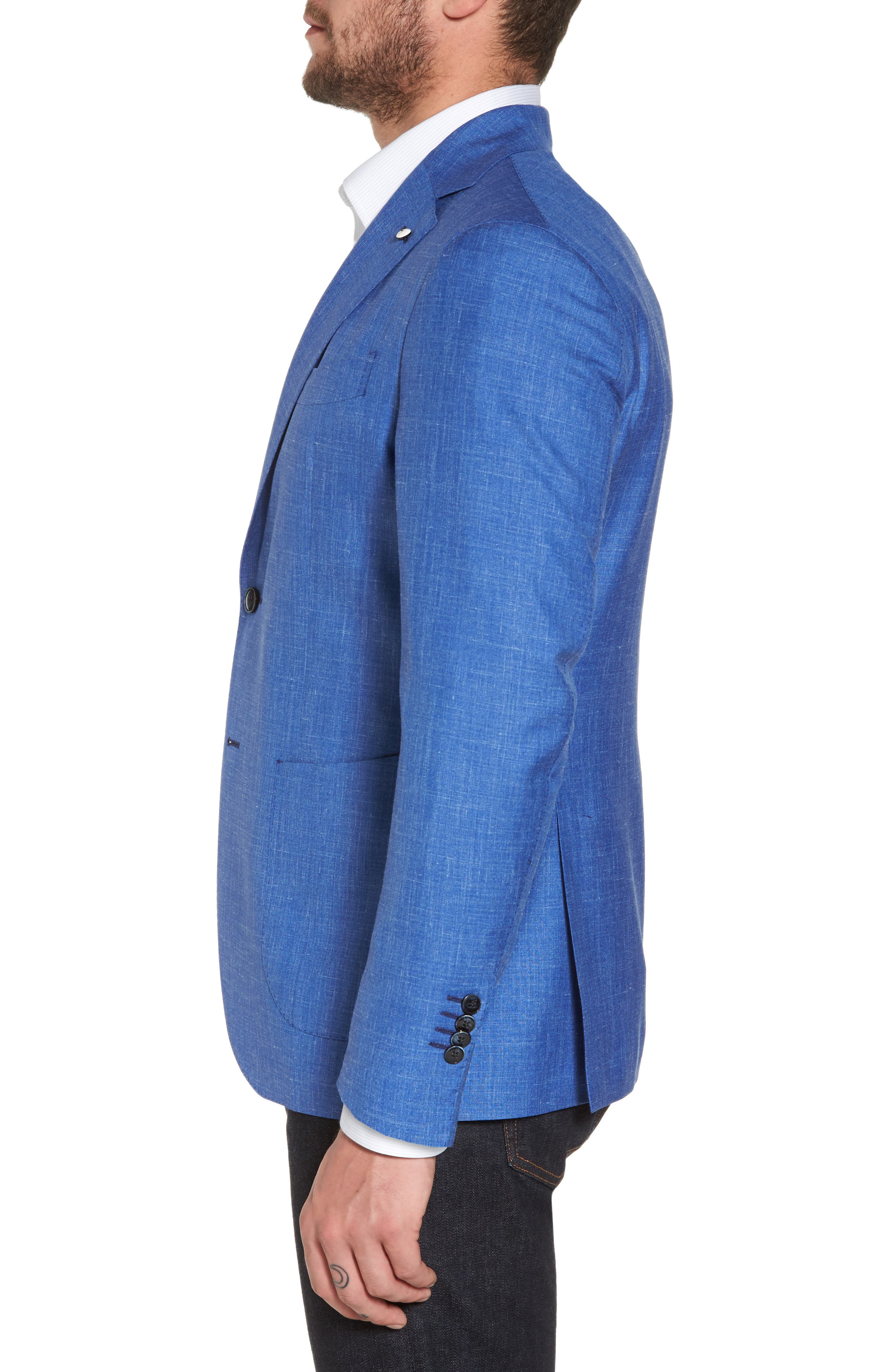 Classic Fit Wool Blend Blazer,                             Alternate thumbnail 3, color,                             Navy
