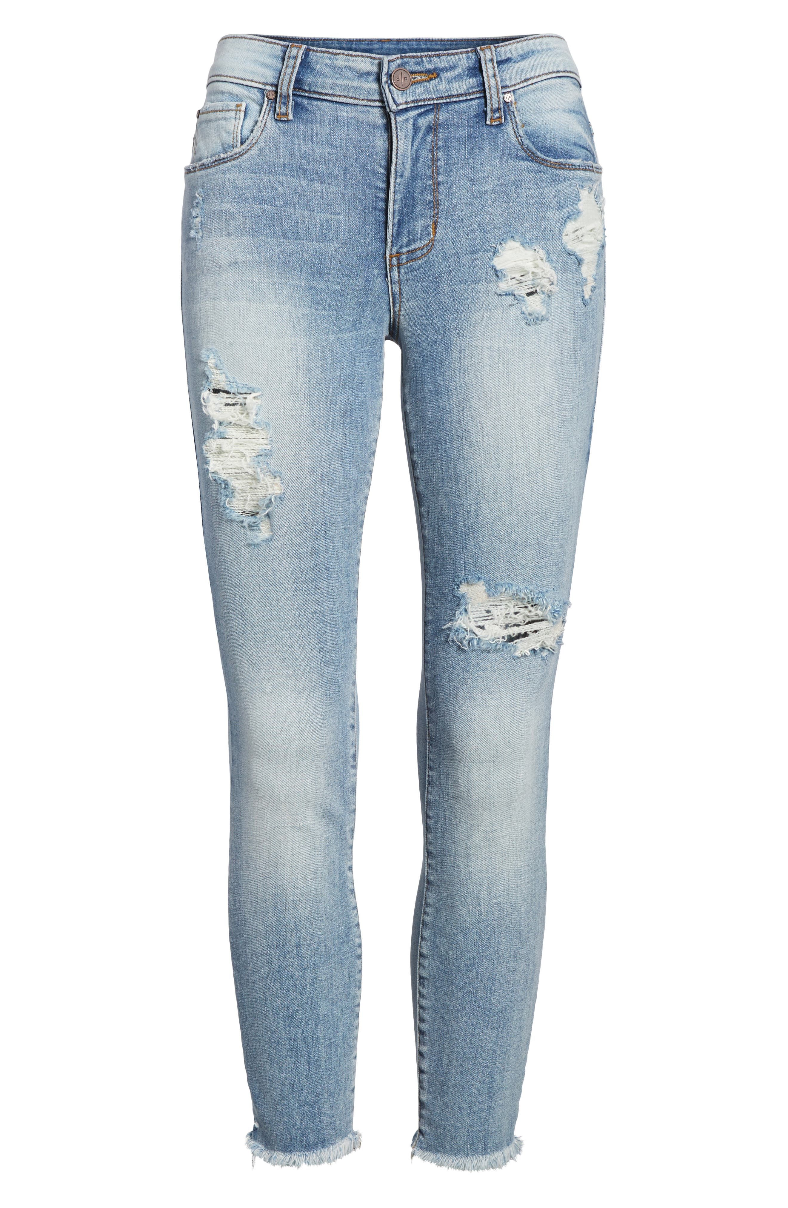 Emma Ripped Ankle Skinny Jeans,                             Alternate thumbnail 7, color,                             Medium Wash