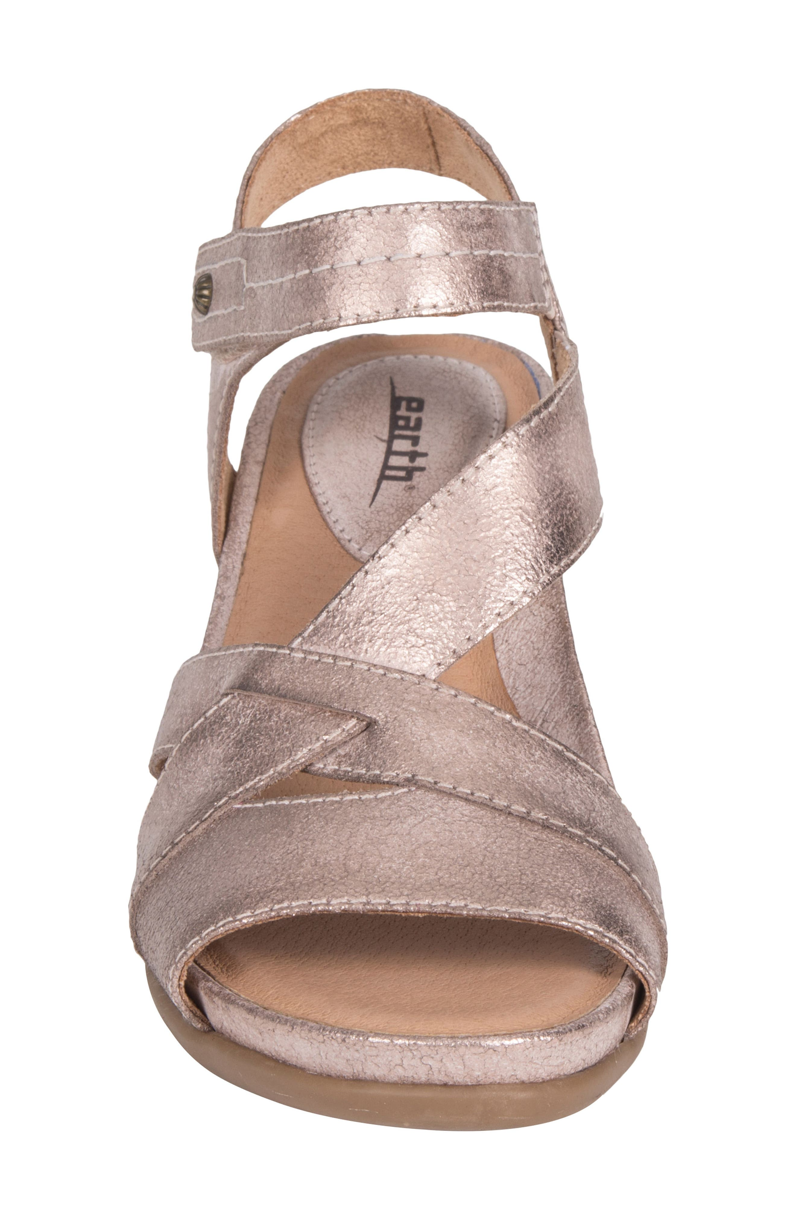 Thistle Wedge Sandal,                             Alternate thumbnail 4, color,                             Pink Leather