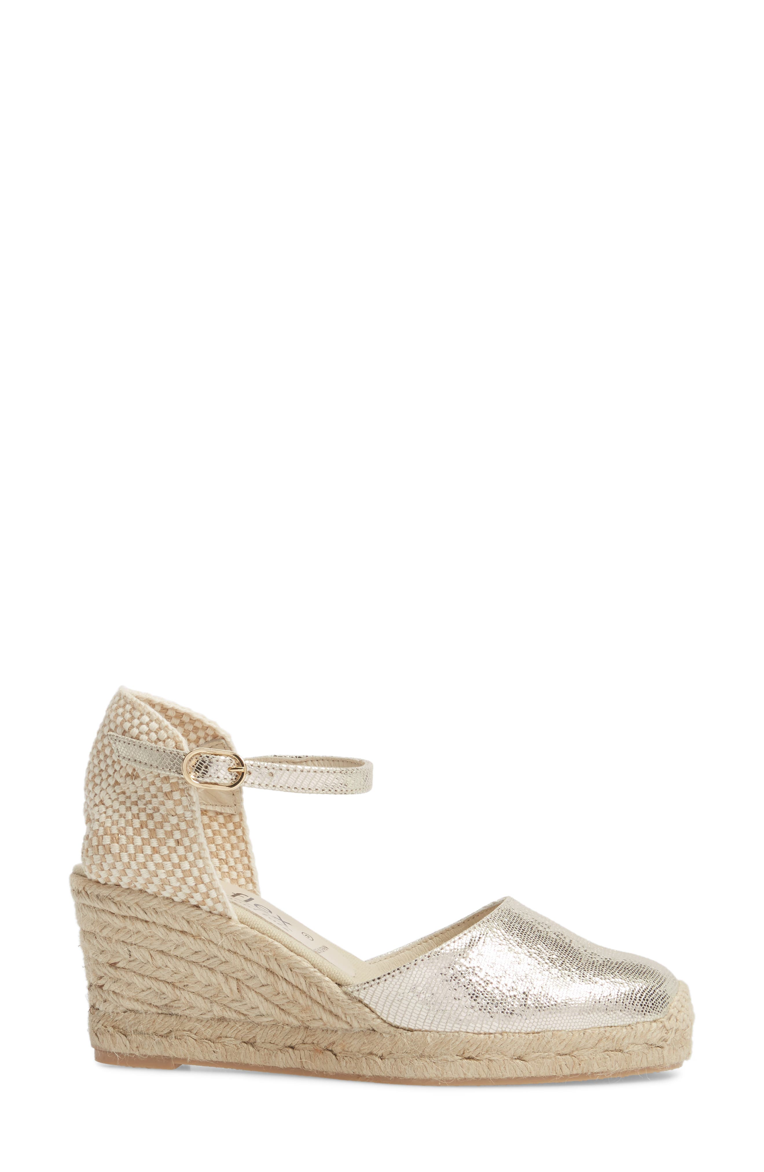 Europa Wedge Sandal,                             Alternate thumbnail 3, color,                             Gold Lizard Printed Leather