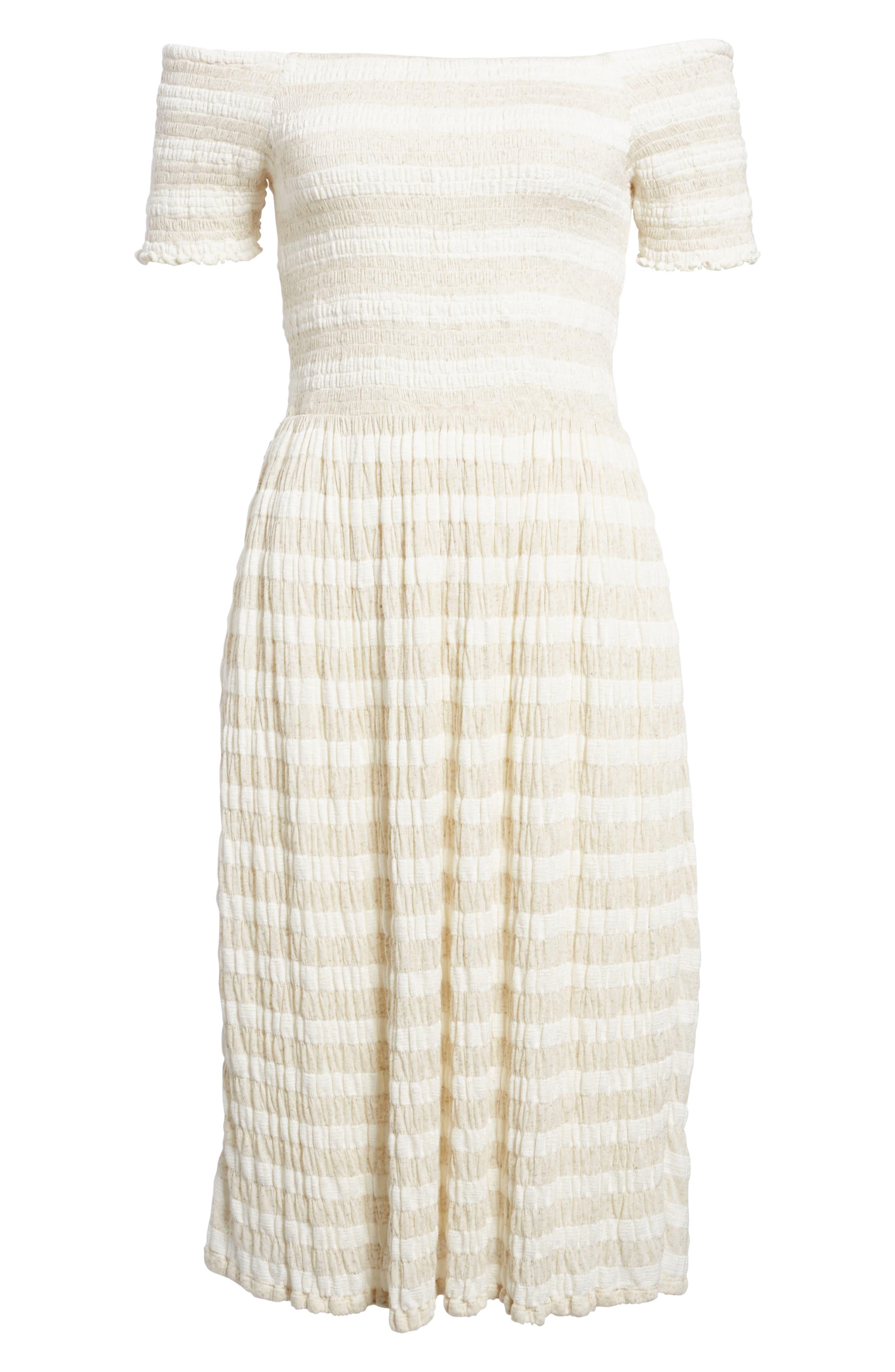 Stripe Smocked Midi Dress,                             Alternate thumbnail 6, color,                             Natural Multi