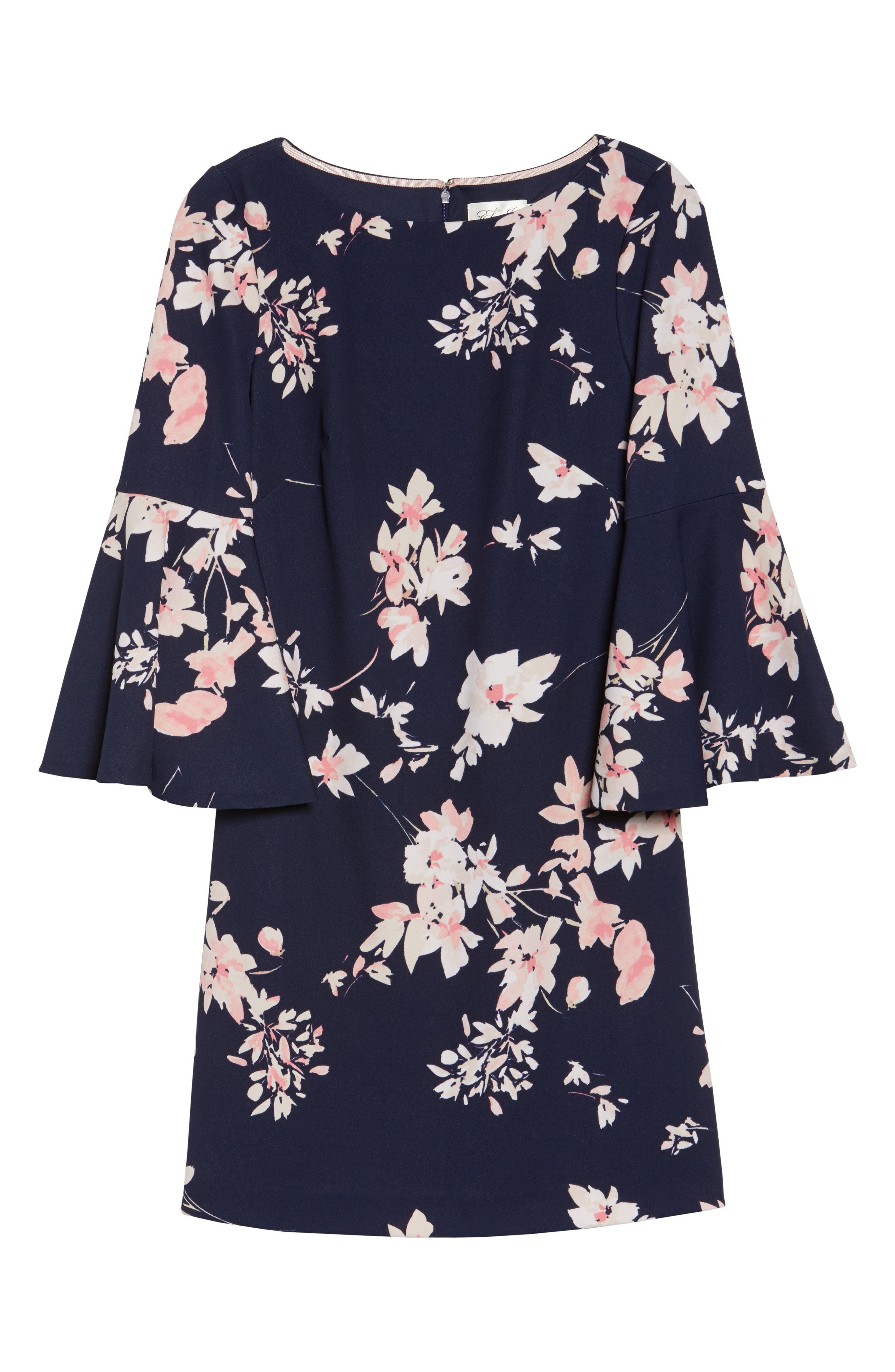 Floral Bell Sleeve Dress,                             Alternate thumbnail 6, color,                             Navy/ Pink