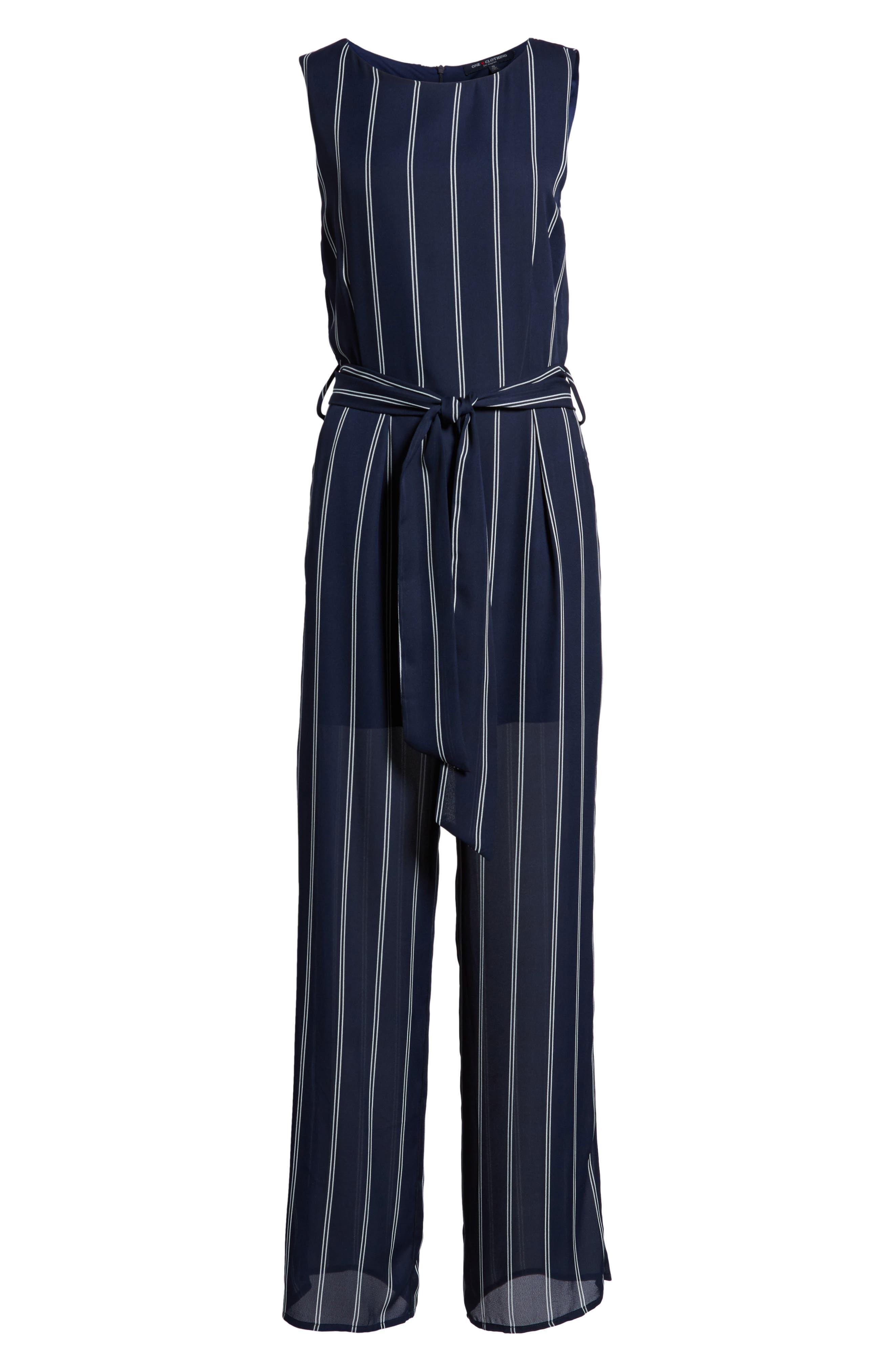 Stripe Jumpsuit,                             Alternate thumbnail 6, color,                             Navy/Ivory