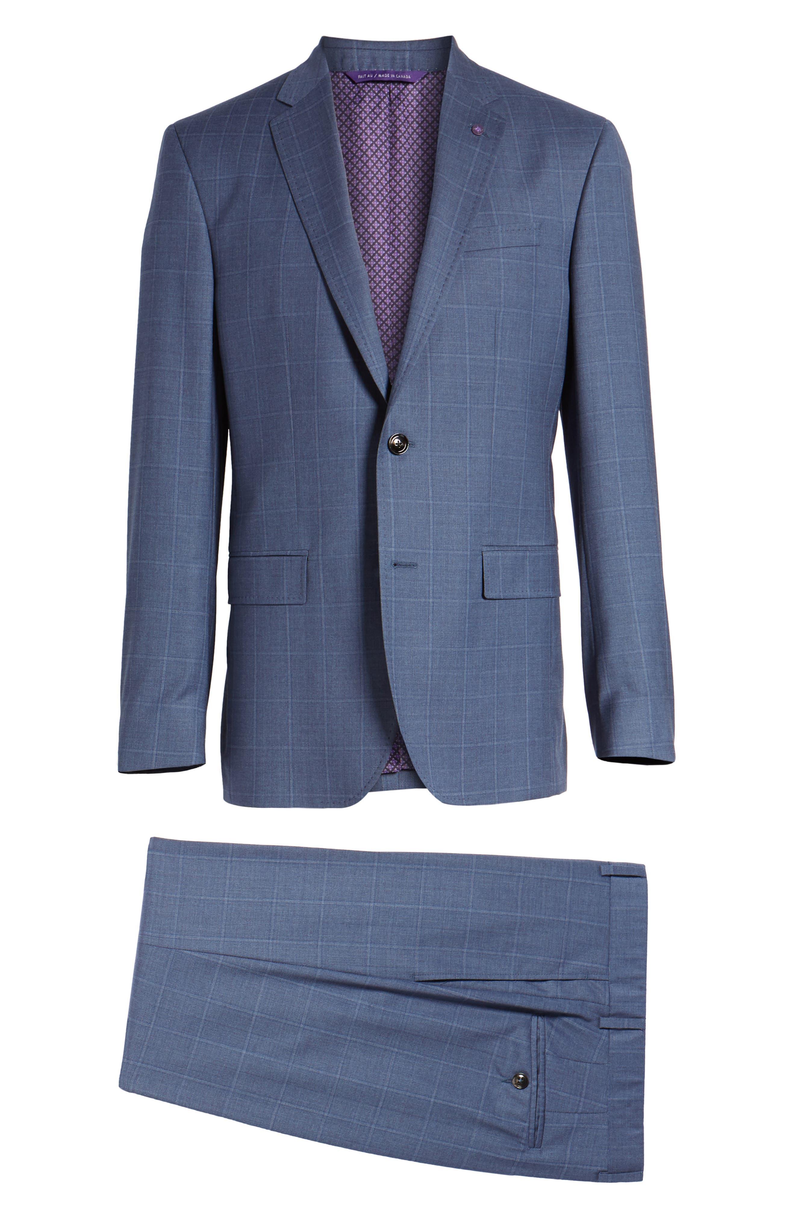 Jay Trim Fit Windowpane Wool Suit,                             Alternate thumbnail 8, color,                             Med Blue
