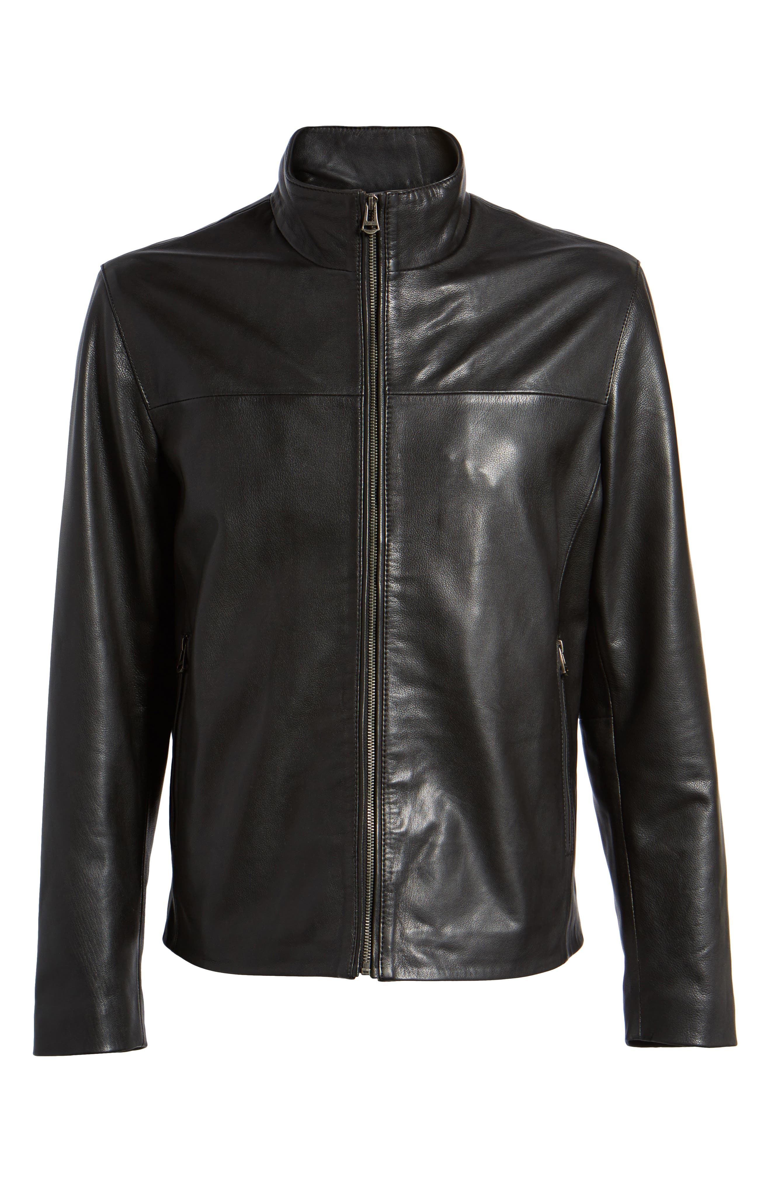 Washed Leather Jacket,                             Alternate thumbnail 5, color,                             Black