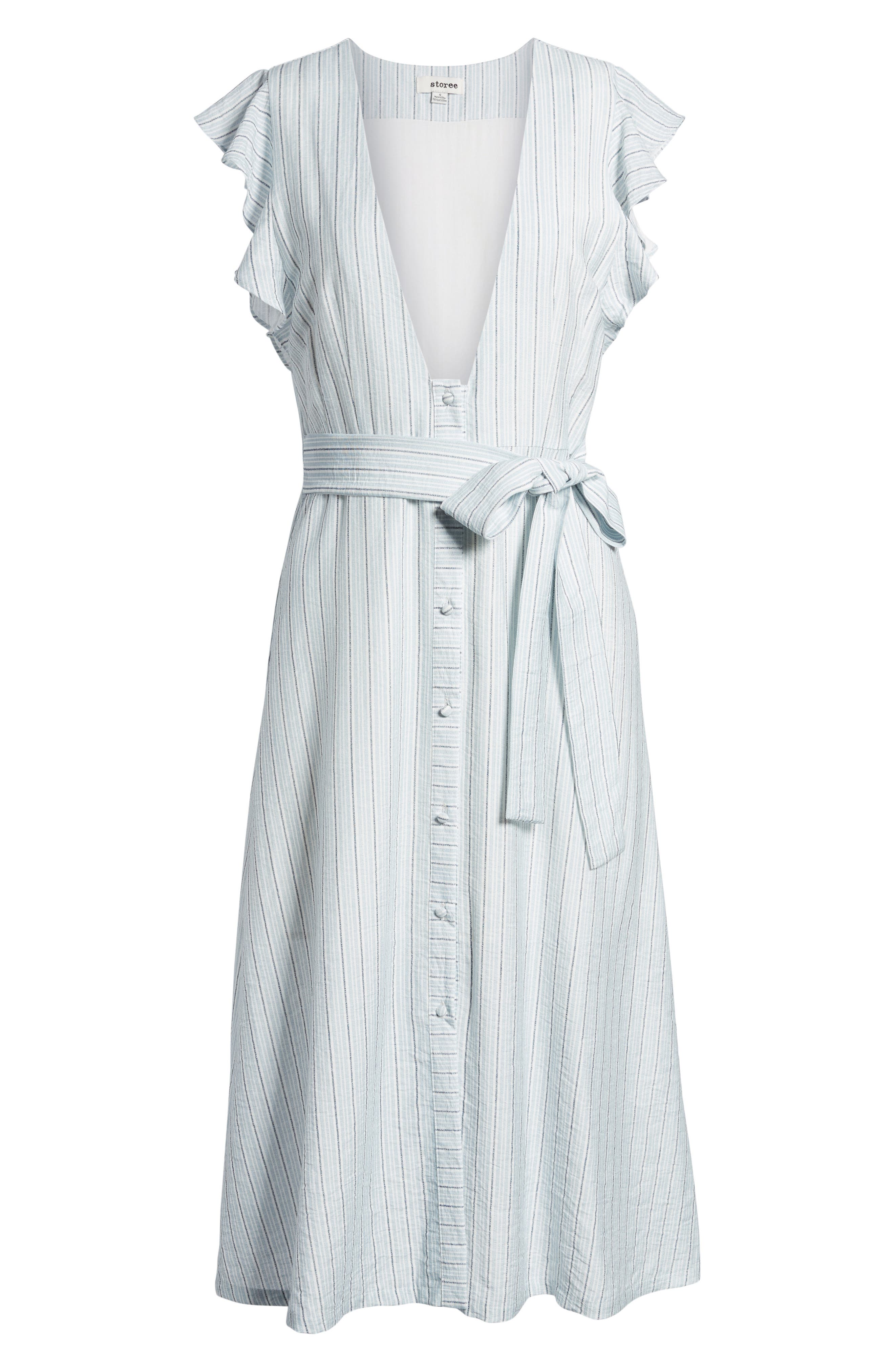 Button Front Midi Dress,                             Alternate thumbnail 6, color,                             Light-Blue