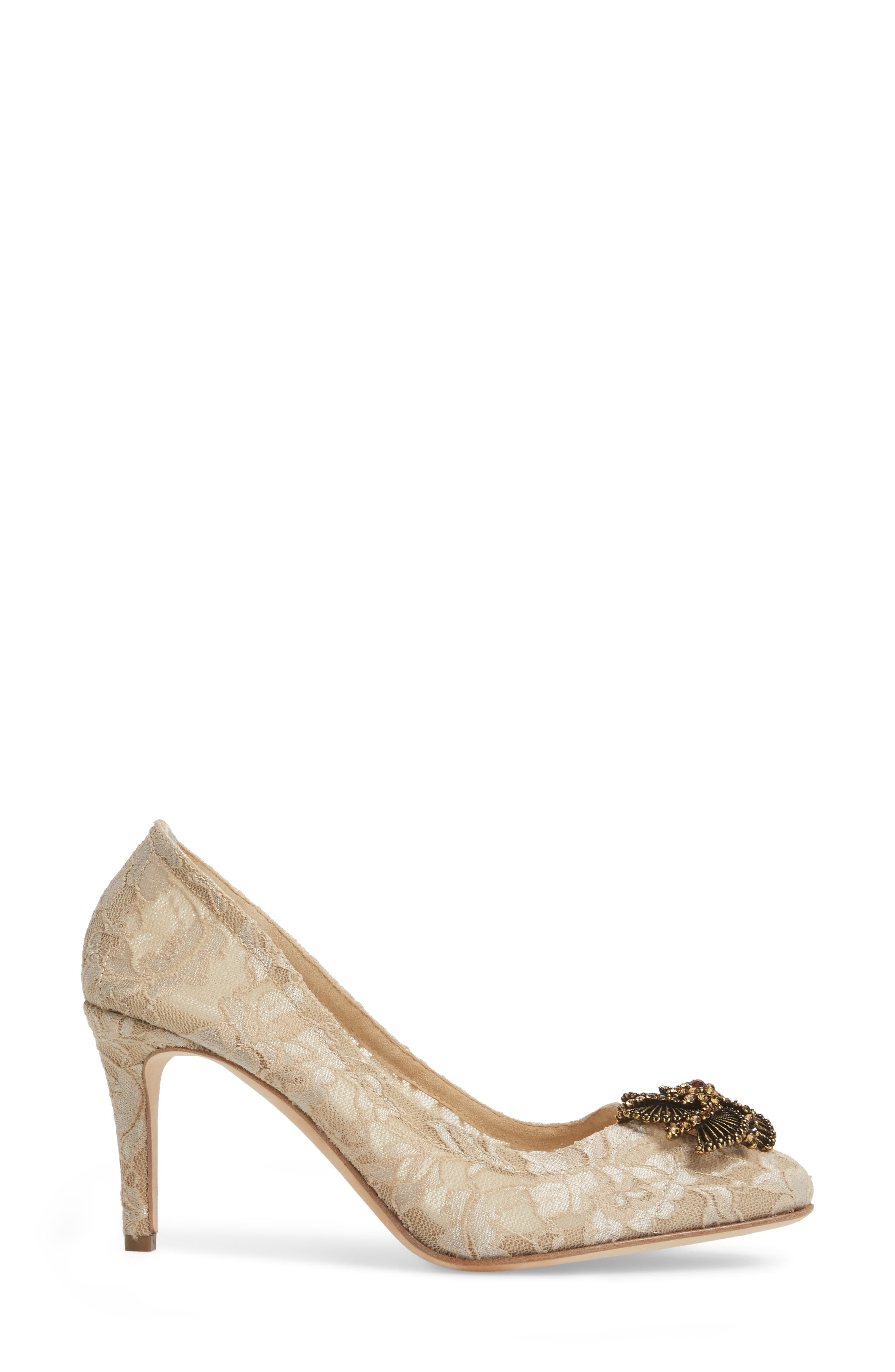 Valerie Embellished Pump,                             Alternate thumbnail 3, color,                             Taupe Lace