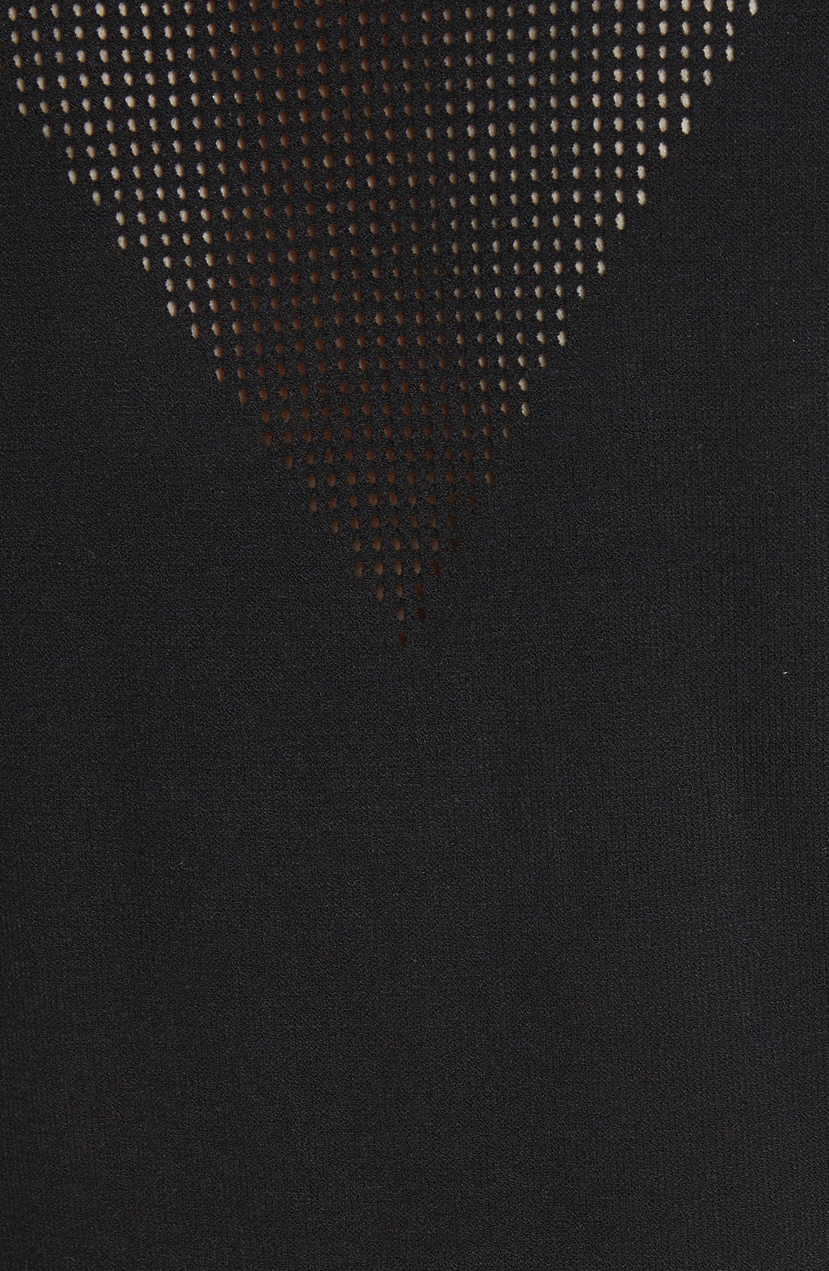 Sheer Detail Knit Dress,                             Alternate thumbnail 6, color,                             Black