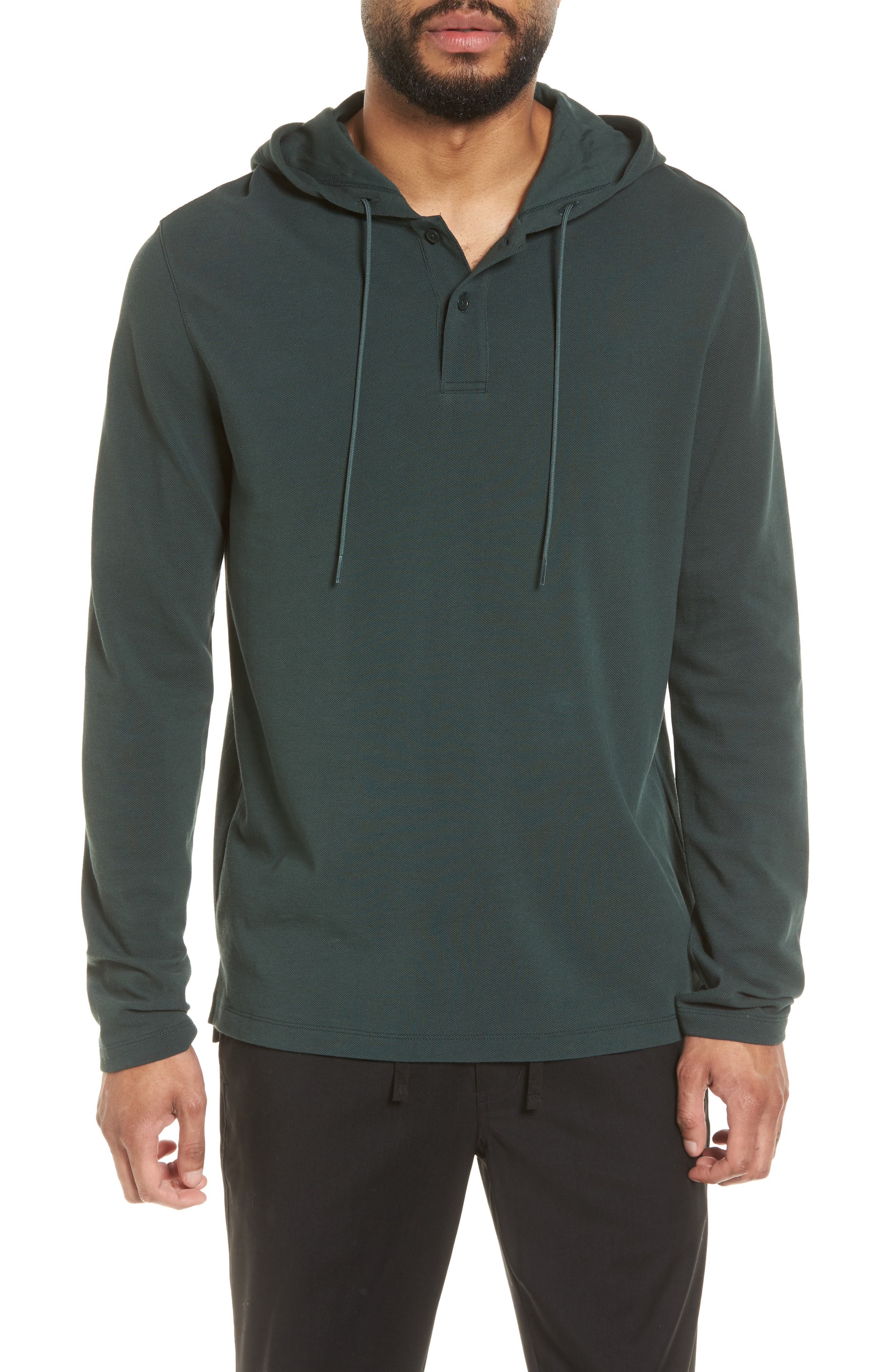 Slim Fit Henley Hoodie,                         Main,                         color, Deep Forest