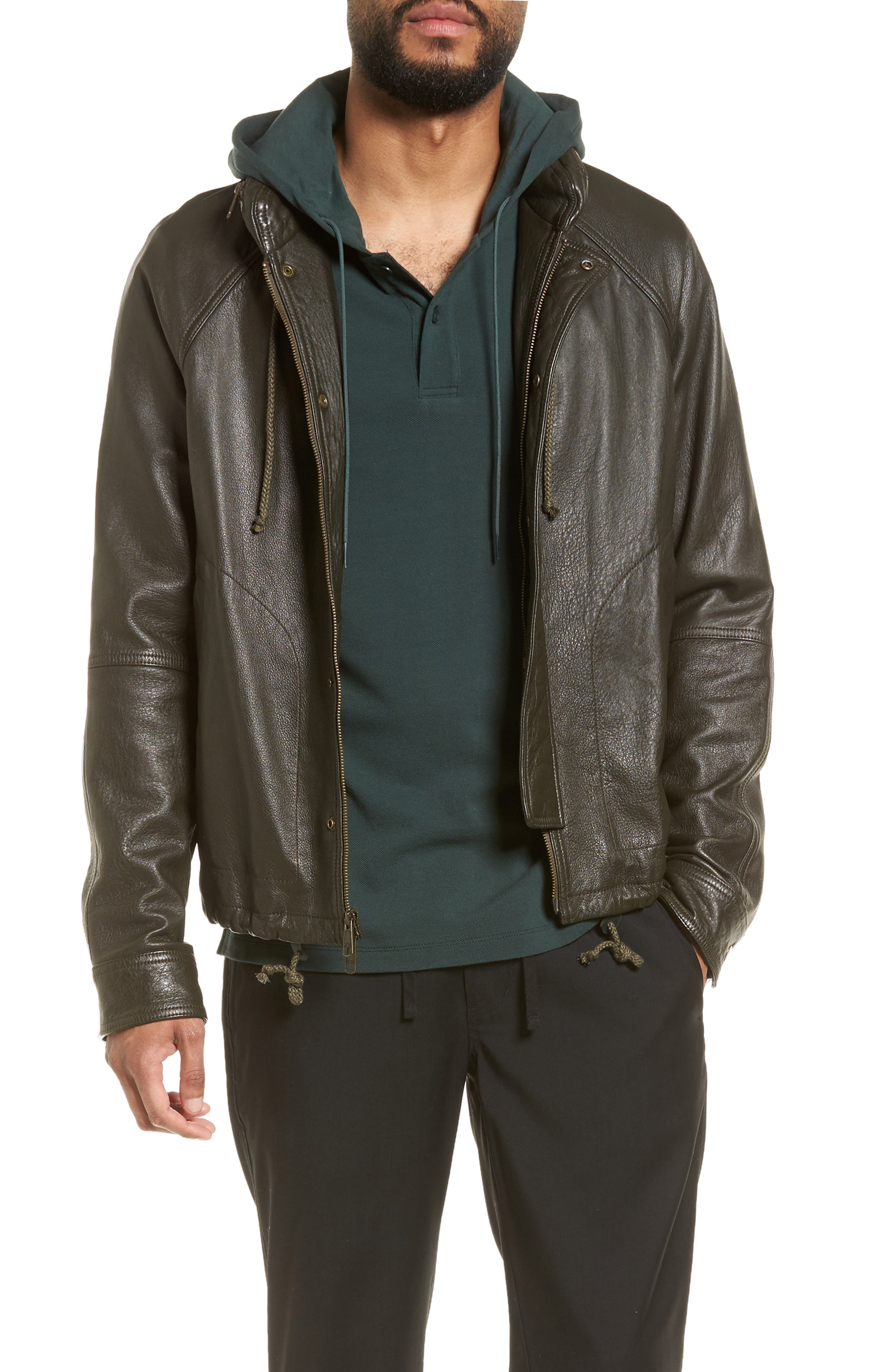Slim Fit Lambskin Leather Parka,                             Alternate thumbnail 6, color,                             Olive
