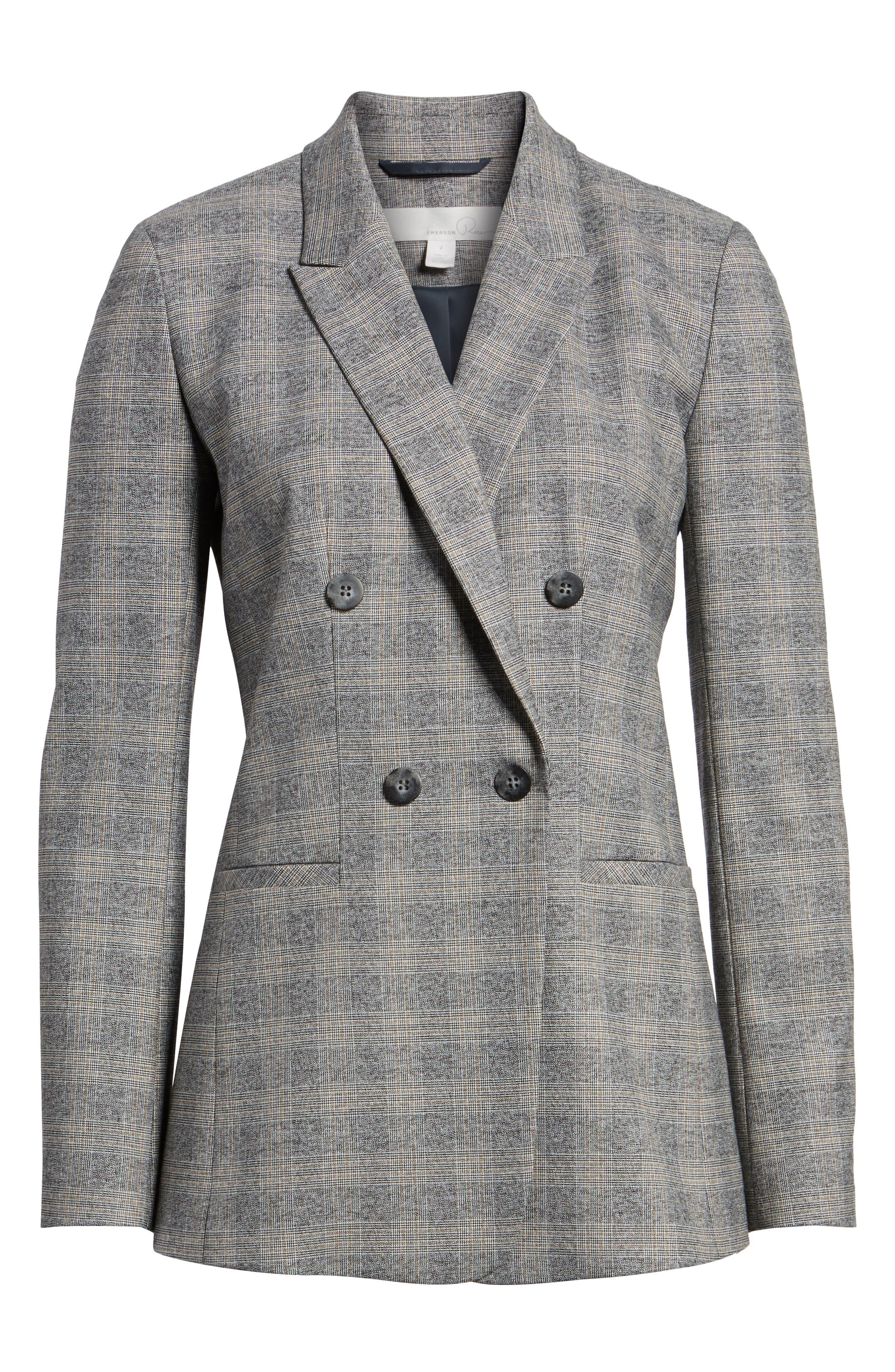 Check Plaid Suit Jacket,                             Alternate thumbnail 6, color,                             Grey Check