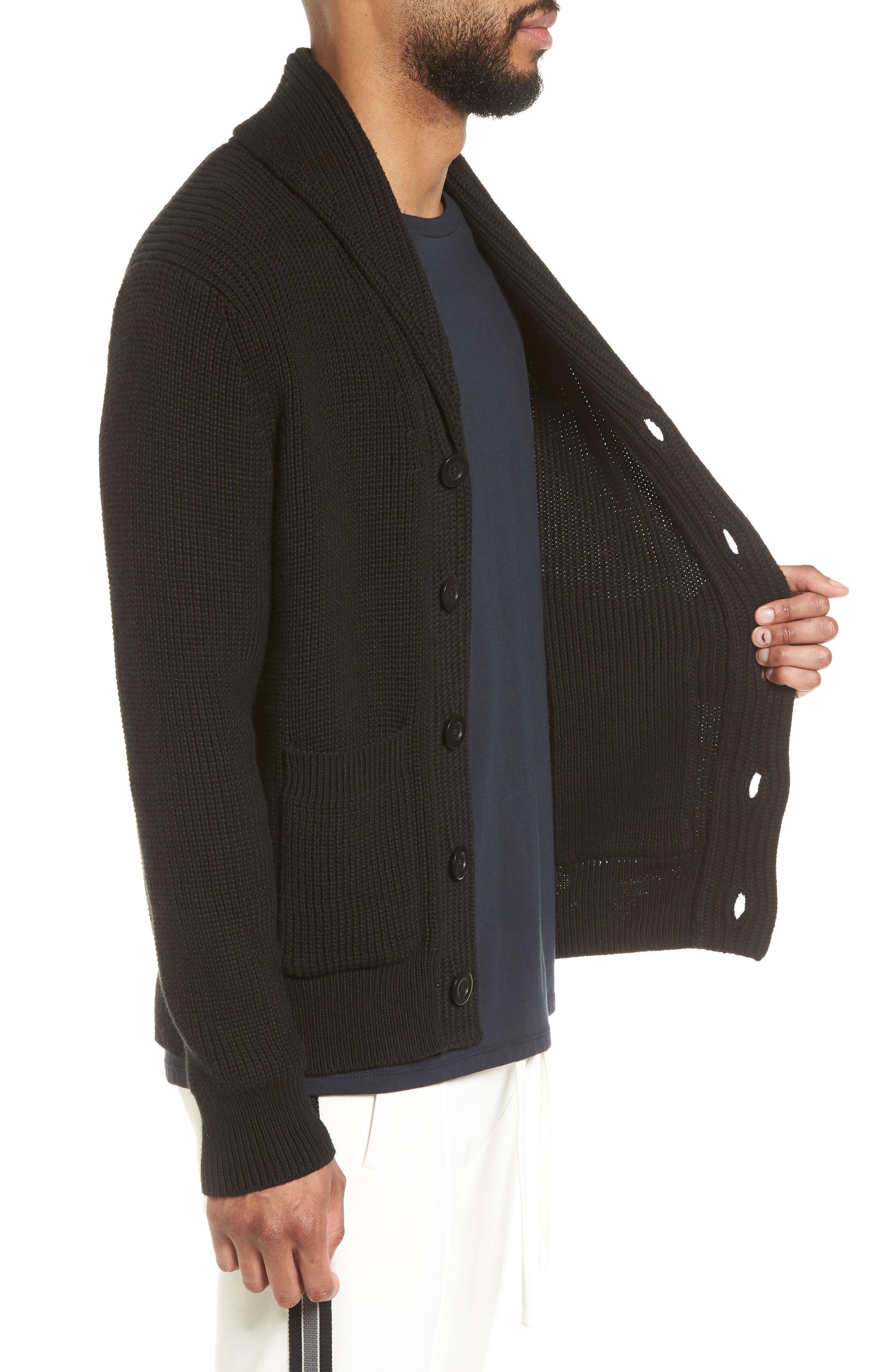 Shawl Collar Cardigan,                             Alternate thumbnail 3, color,                             Black