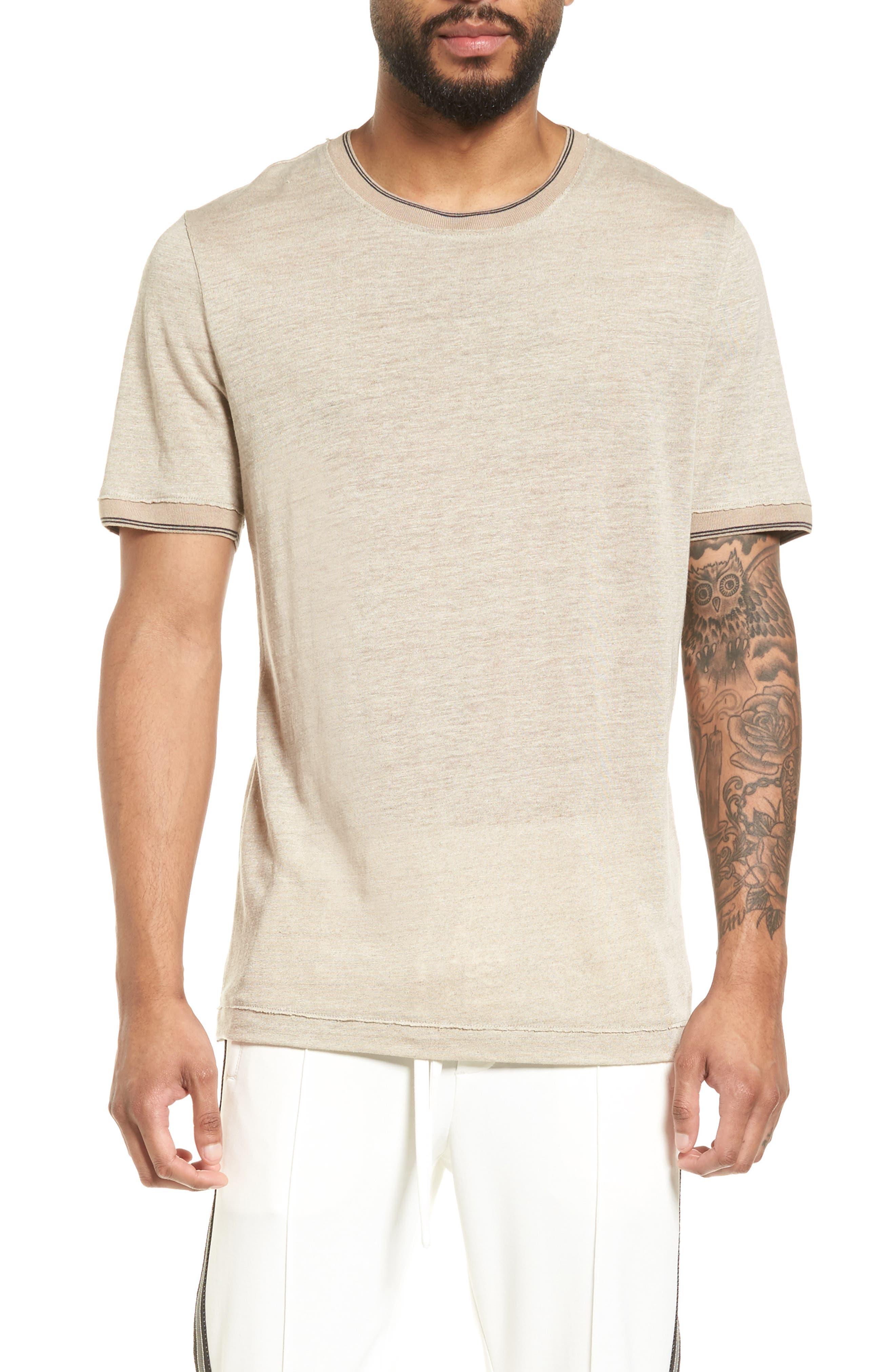 Vince Slim Fit Tipped Linen T-Shirt