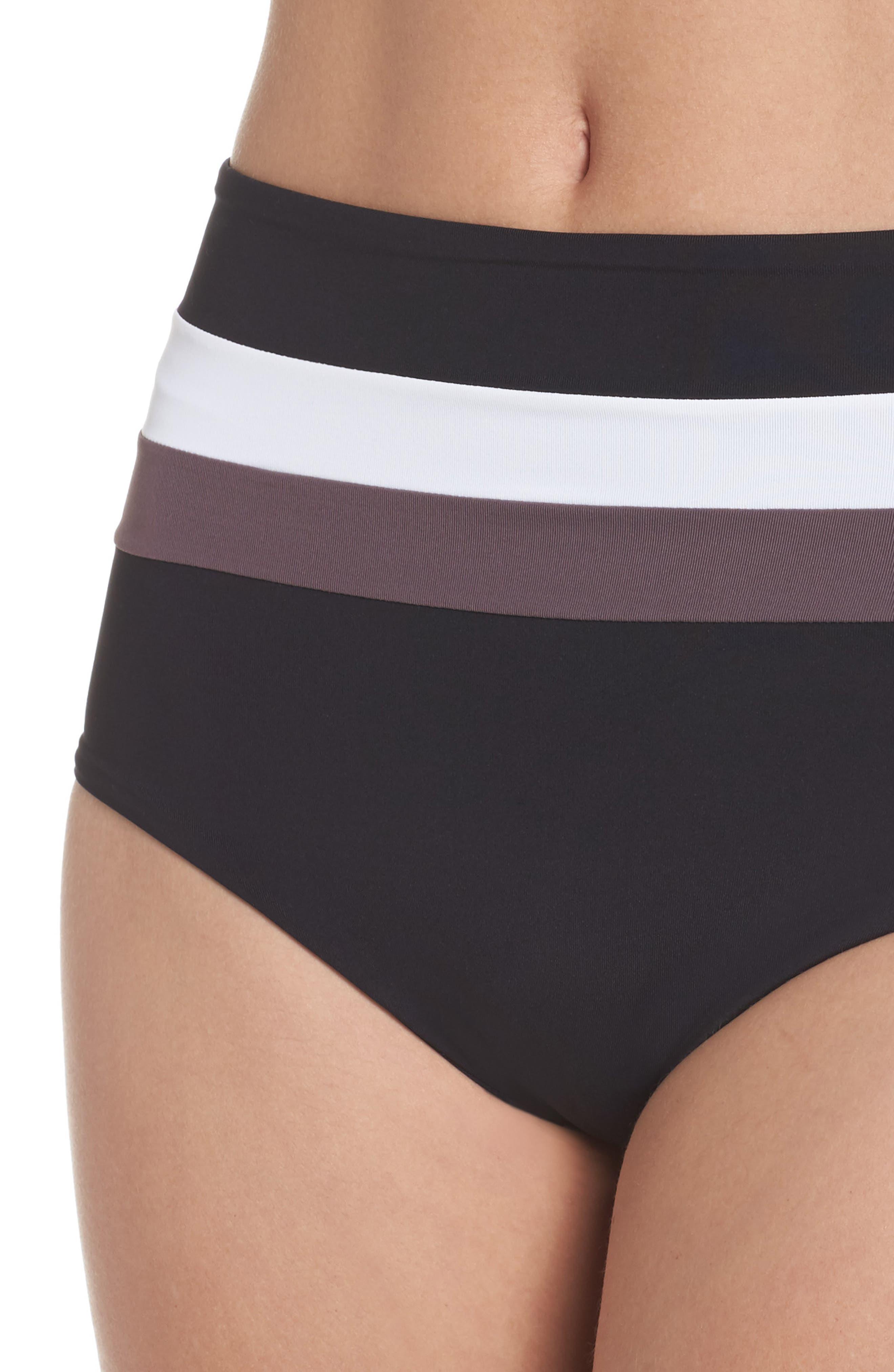 Portia Reversible Colorblock Bikini Bottoms,                             Alternate thumbnail 5, color,                             Black