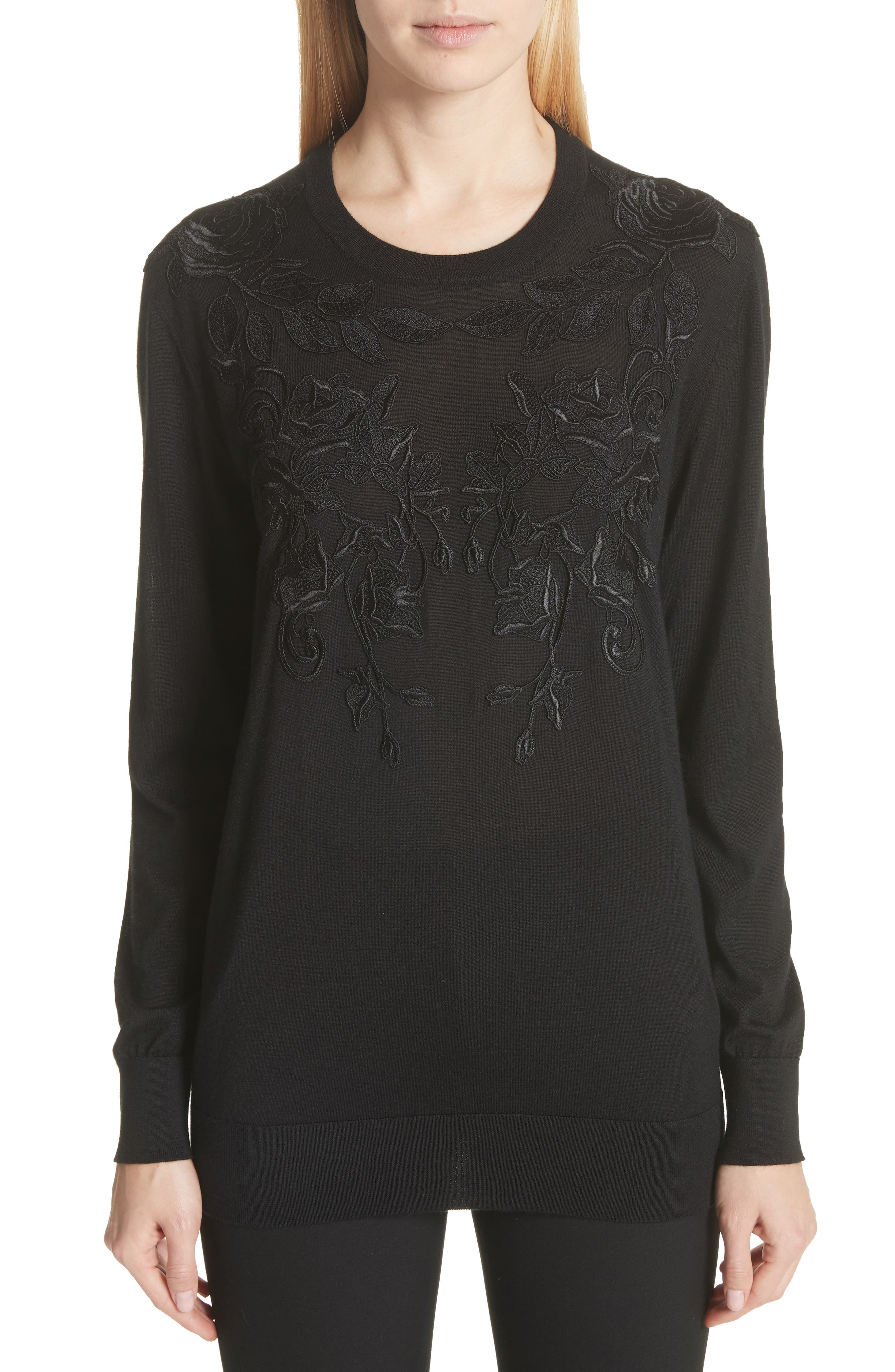 Dolce&Gabbana Lace Appliqué Cashmere & Silk Sweater